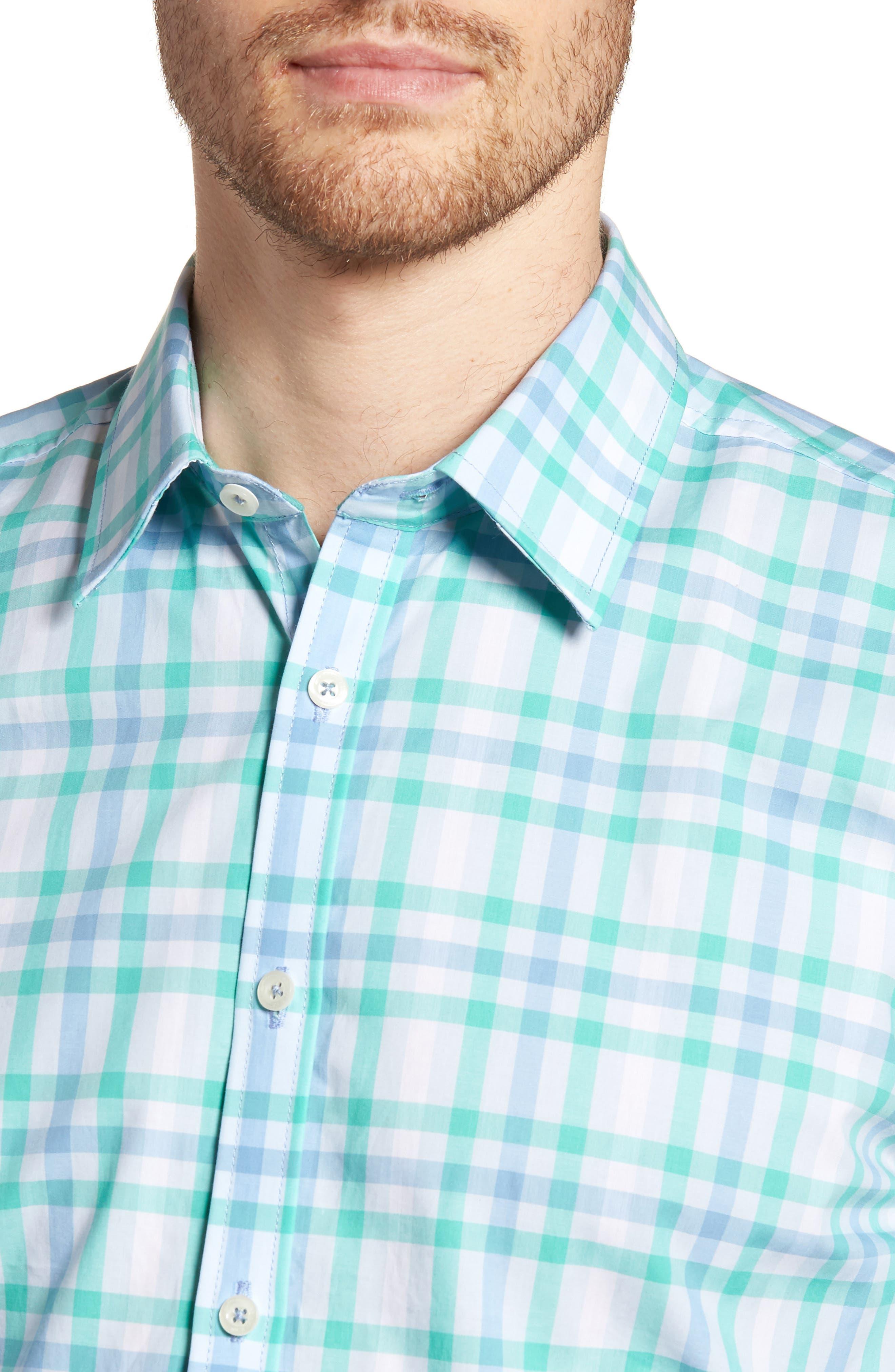 Slim Fit Check Sport Shirt,                             Alternate thumbnail 2, color,                             Turquoise