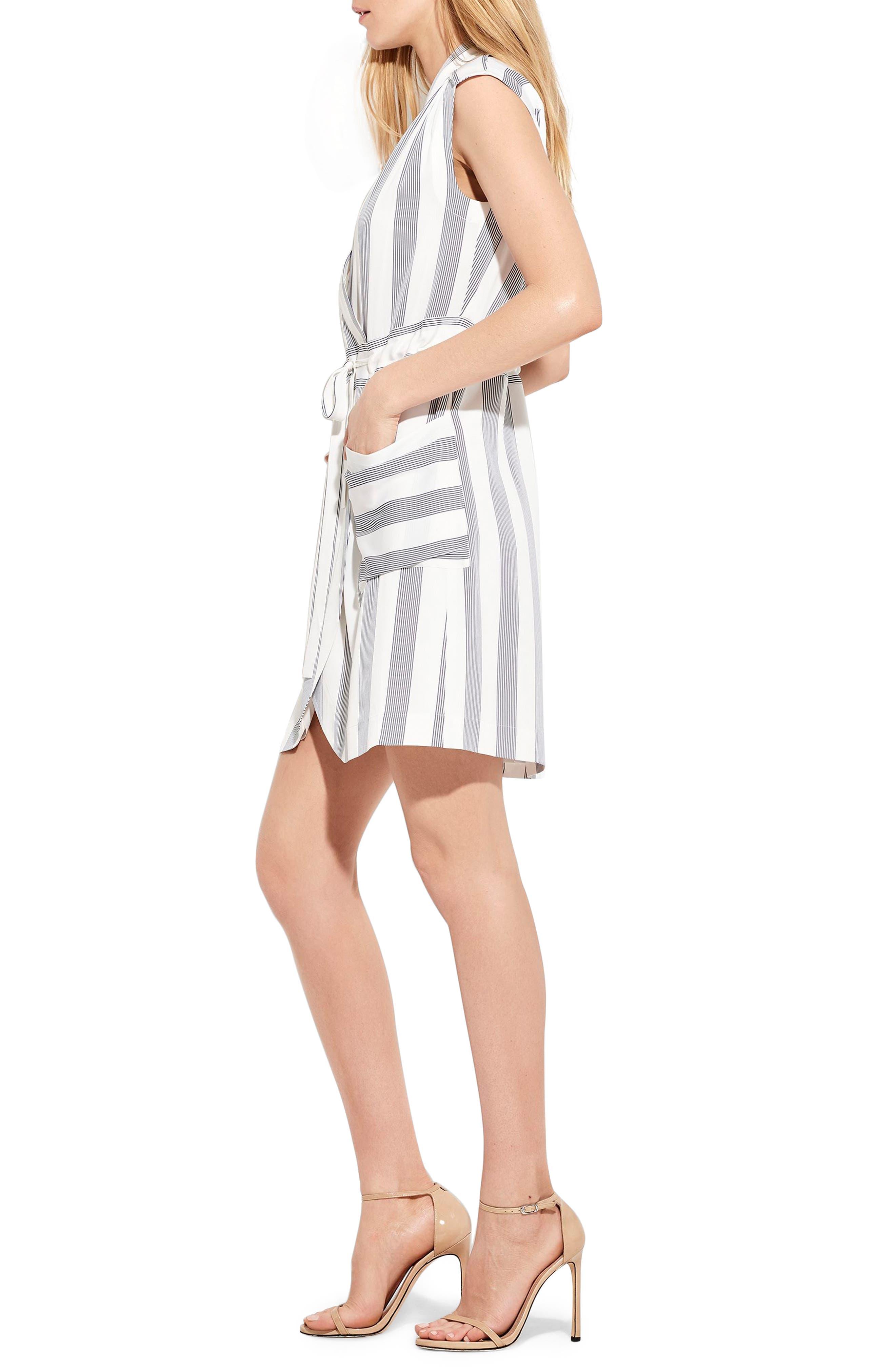 The Bomb Stretch Silk Dress,                             Alternate thumbnail 5, color,                             White/ Navy Stripe
