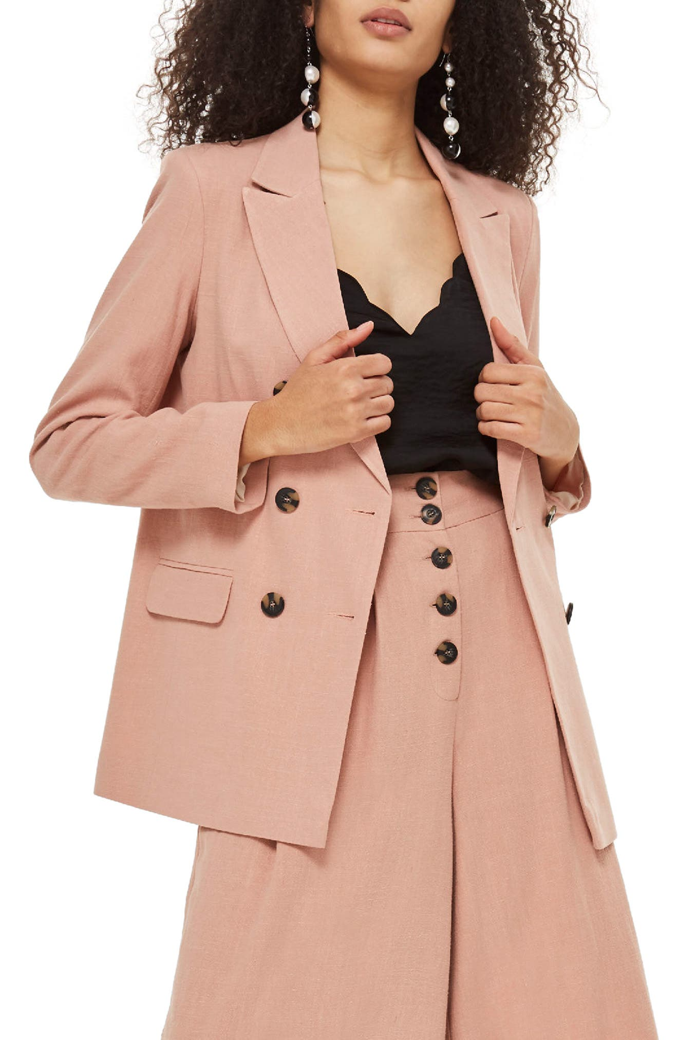 Double Breasted Blazer,                             Main thumbnail 1, color,                             Pink