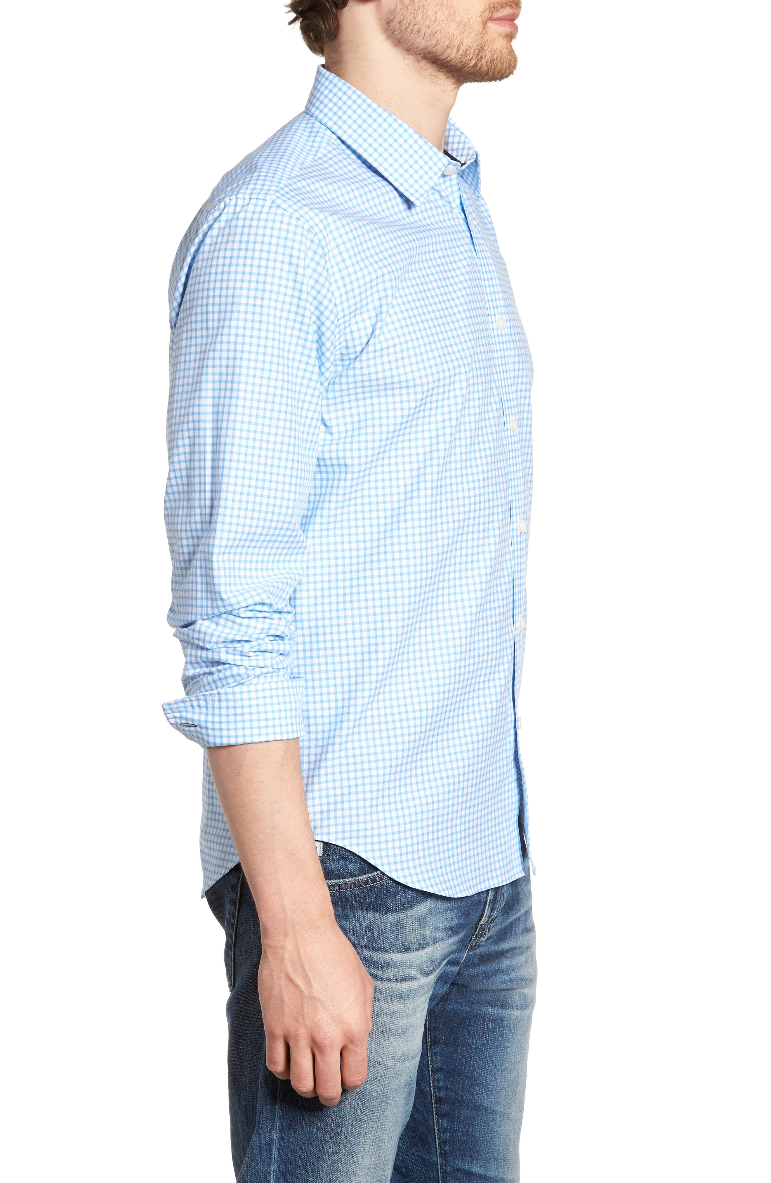 Slim Fit Check Sport Shirt,                             Alternate thumbnail 4, color,                             Light Blue