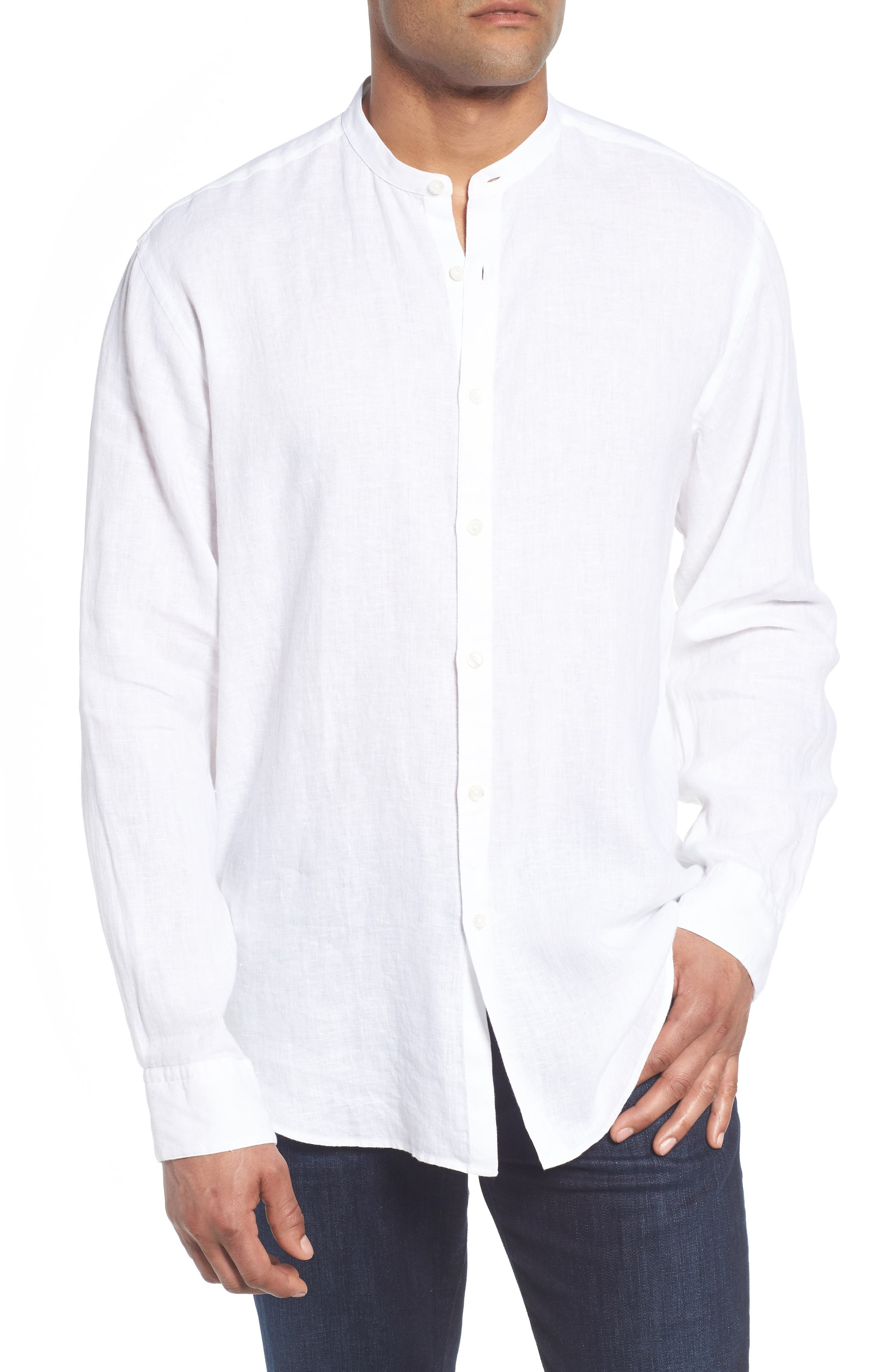 Classic Fit Band Collar Sport Shirt,                             Main thumbnail 1, color,                             White