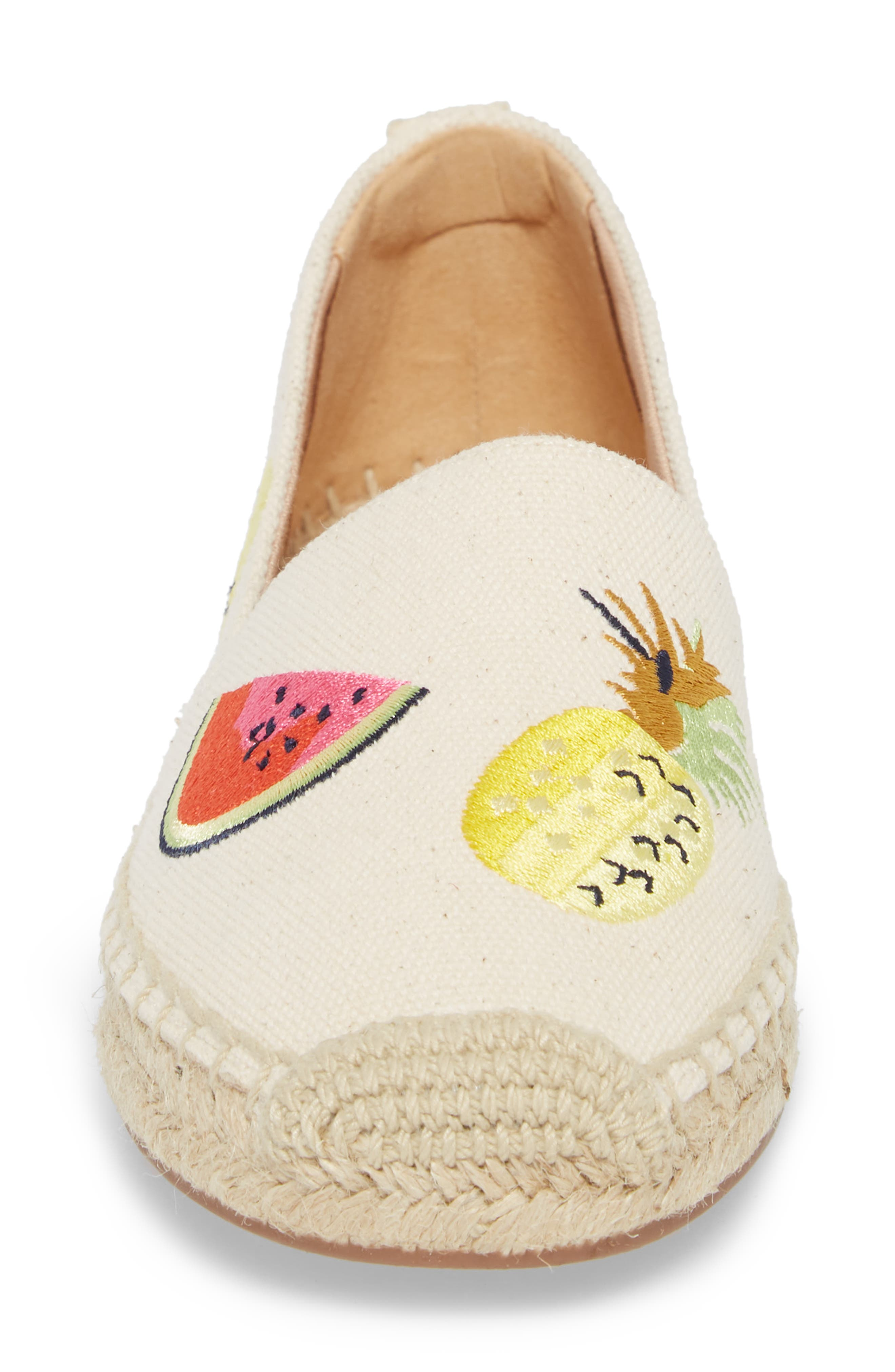 Fruit Salad Embroidered Espadrille,                             Alternate thumbnail 4, color,                             Sundried Linen