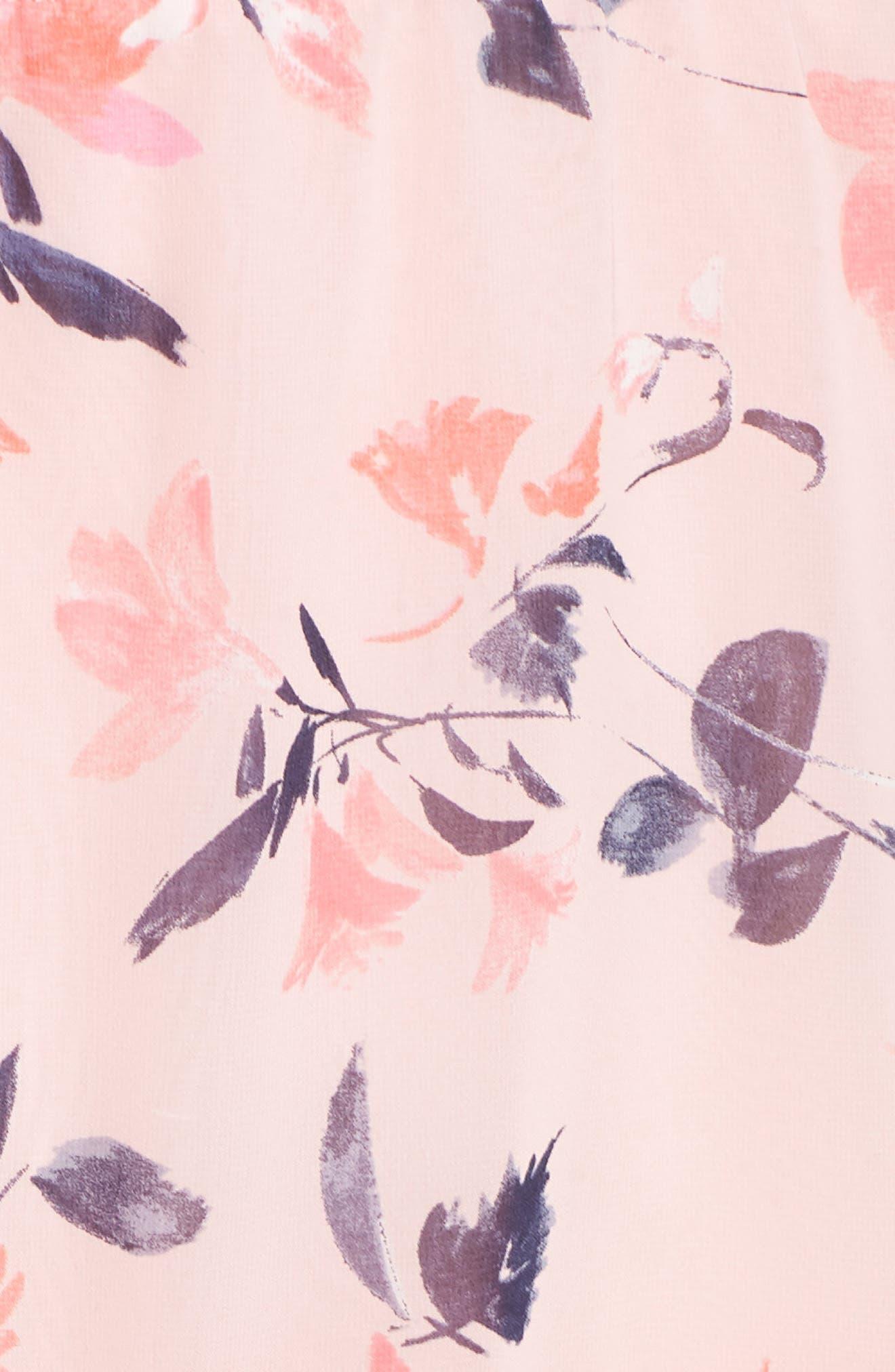 Elza J Floral Bell Sleeve Chiffon Dress,                             Alternate thumbnail 6, color,                             Blush