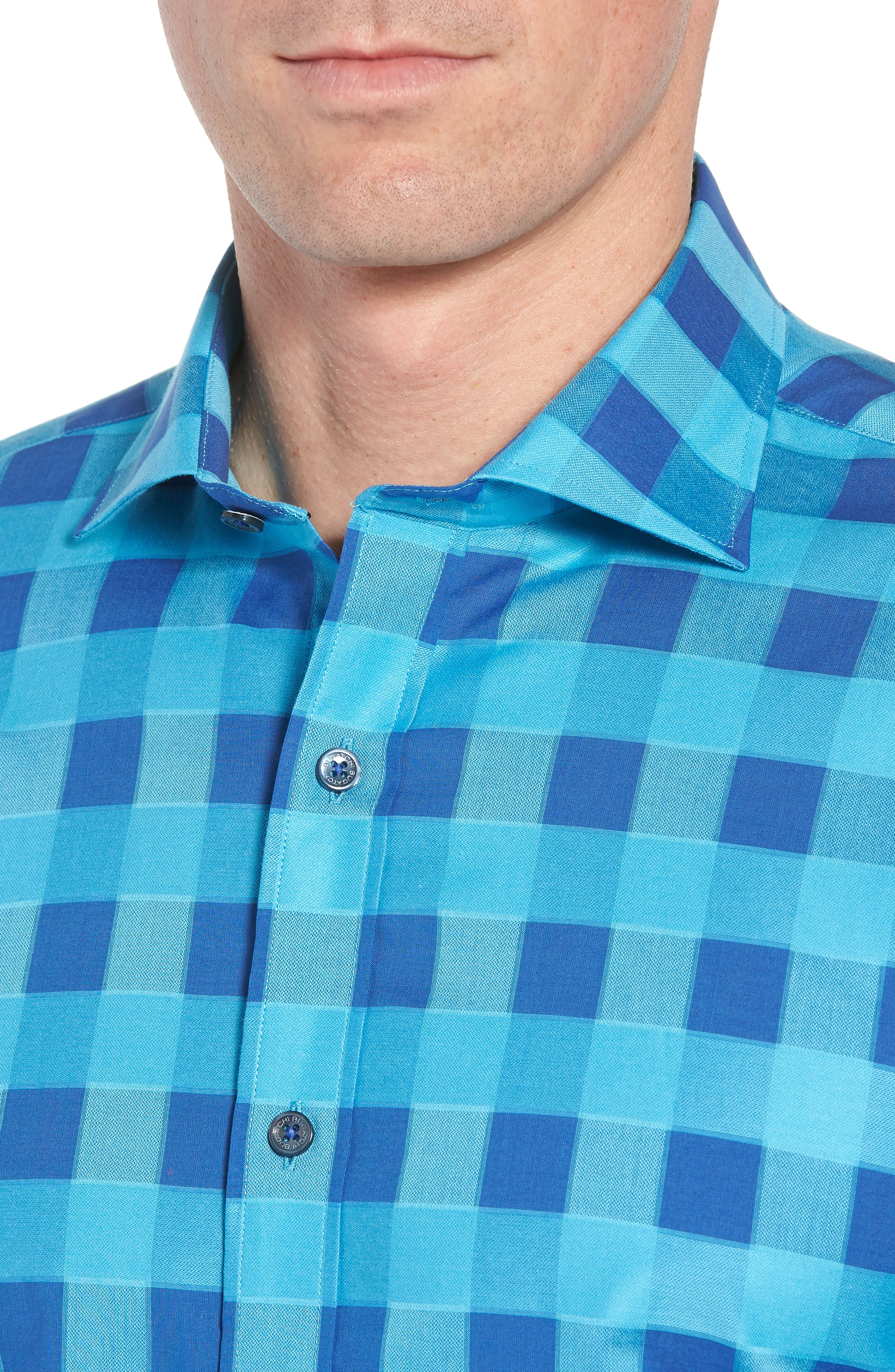 Shaped Fit Check Sport Shirt,                             Alternate thumbnail 2, color,                             Turquoise