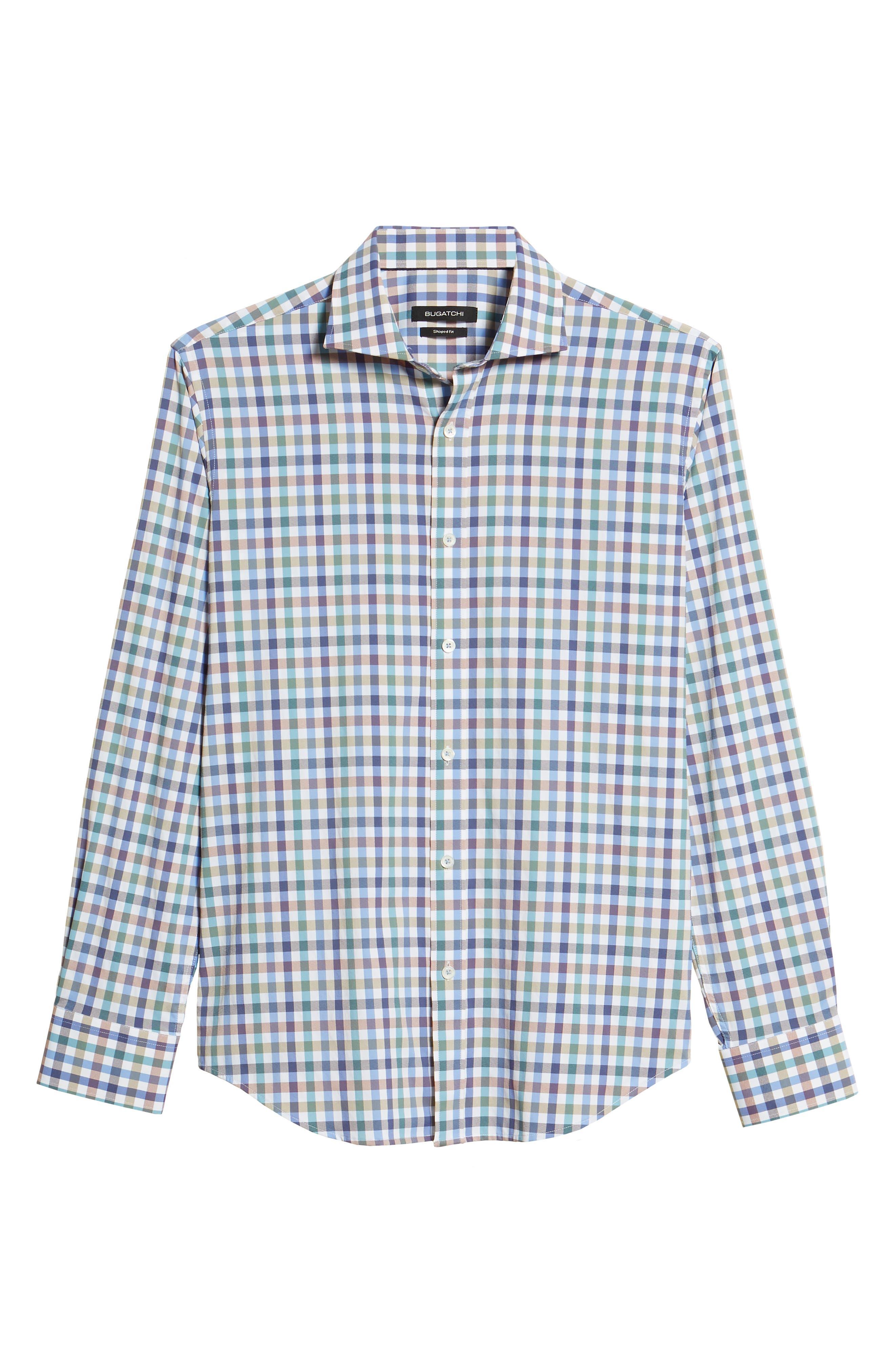 Shaped Fit Check Sport Shirt,                             Alternate thumbnail 6, color,                             Mocha