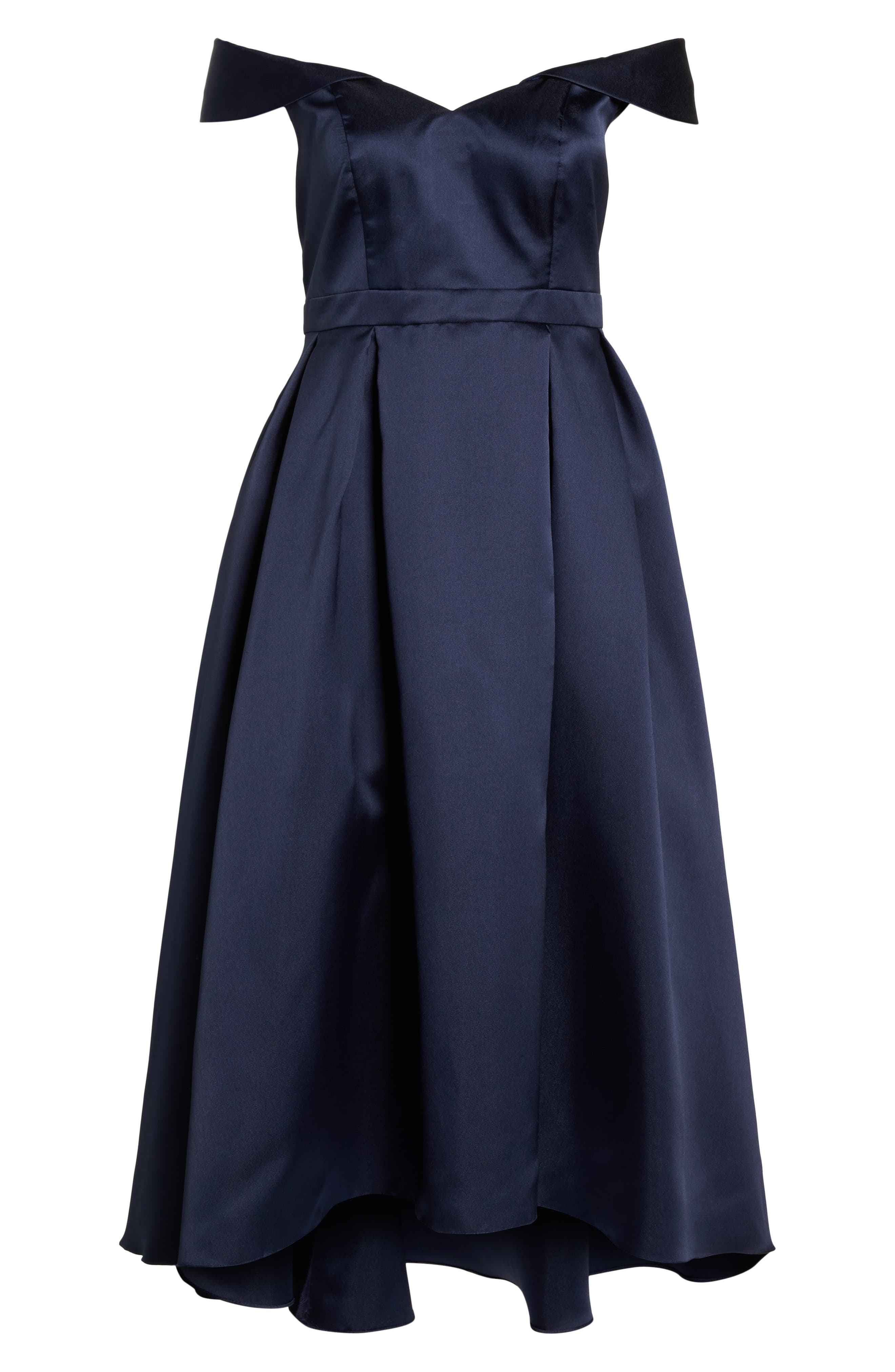 Off the Shoulder Mikado High/Low Gown,                             Alternate thumbnail 6, color,                             Navy