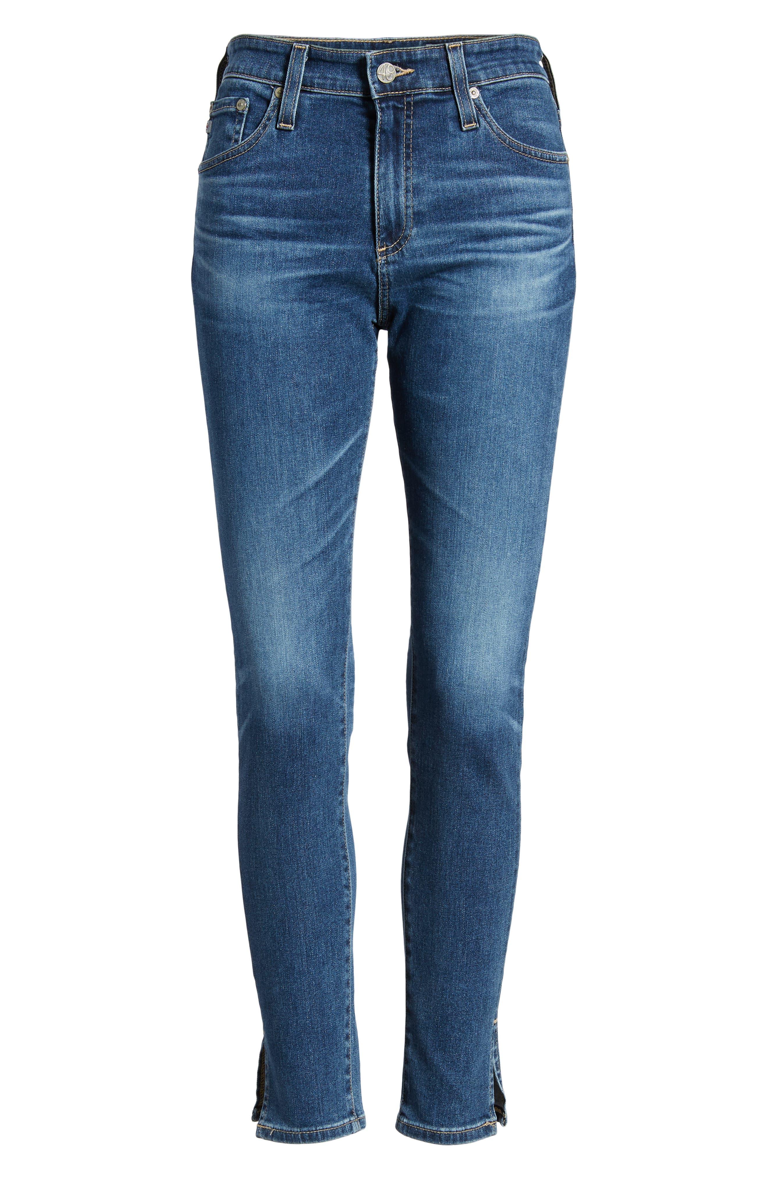 Farrah High Waist Split Hem Skinny Jeans,                             Alternate thumbnail 7, color,                             10 Years Cambria
