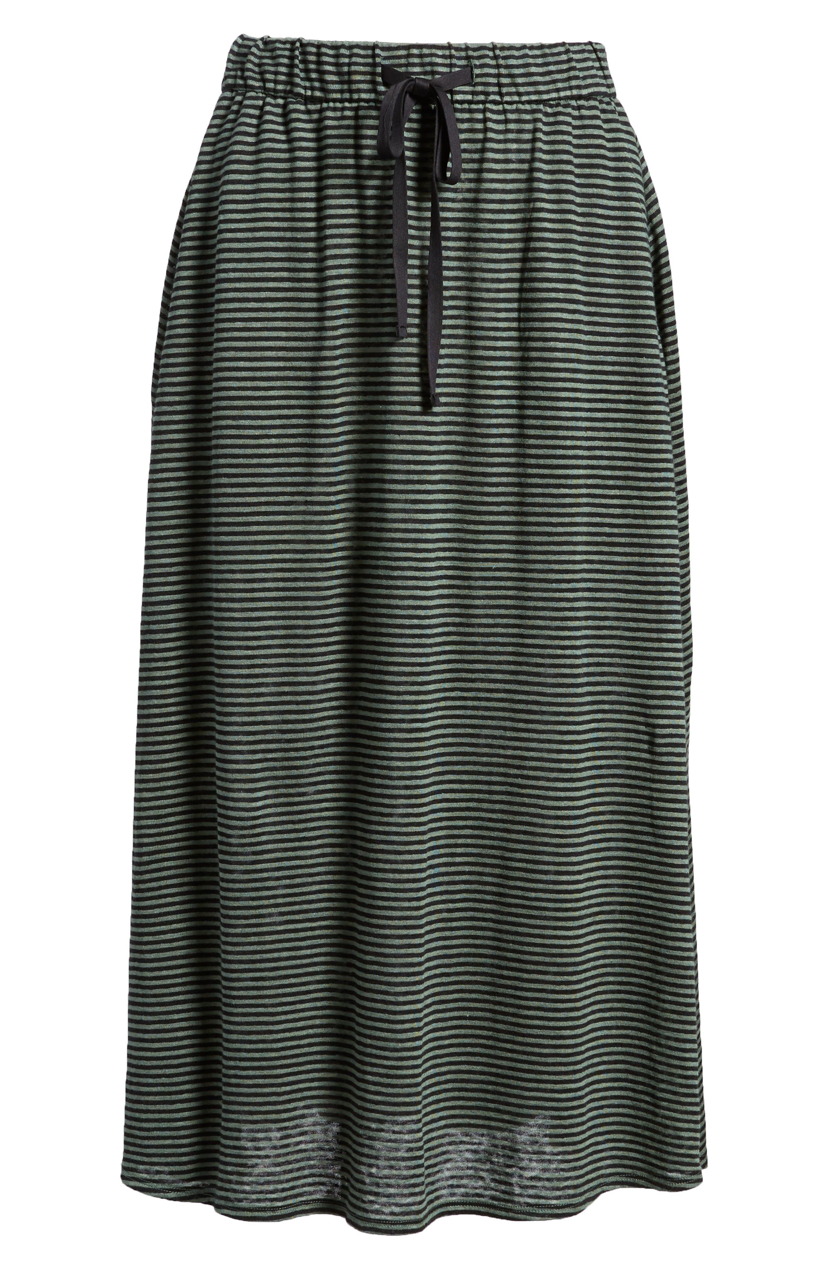 Flared Stripe Organic Linen Skirt,                             Alternate thumbnail 6, color,                             Nori