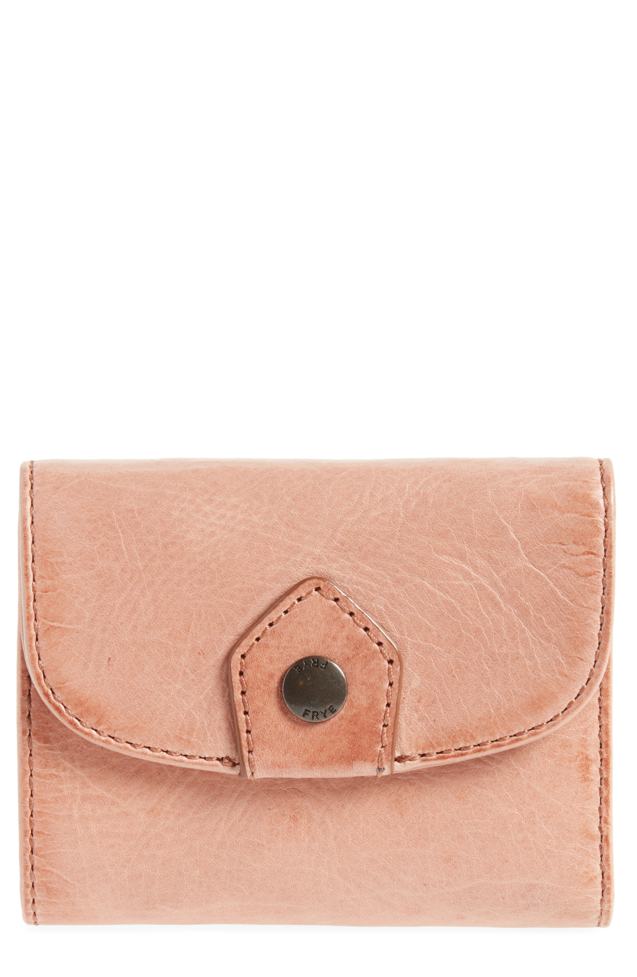 Melissa Medium Trifold Leather Wallet,                         Main,                         color, Dusty Rose
