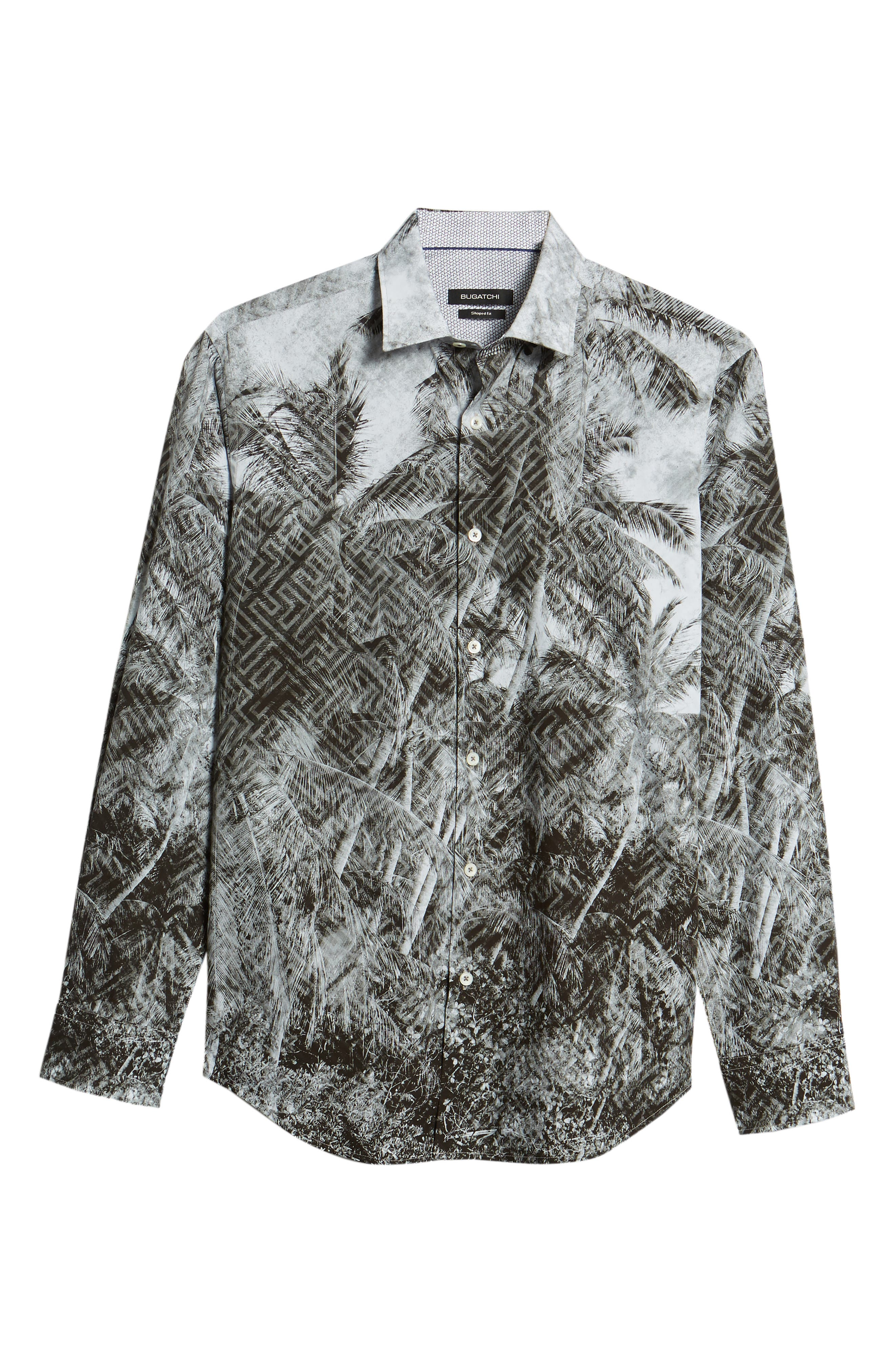 Shaped Fit Shady Frond Print Sport Shirt,                             Alternate thumbnail 6, color,                             Graphite