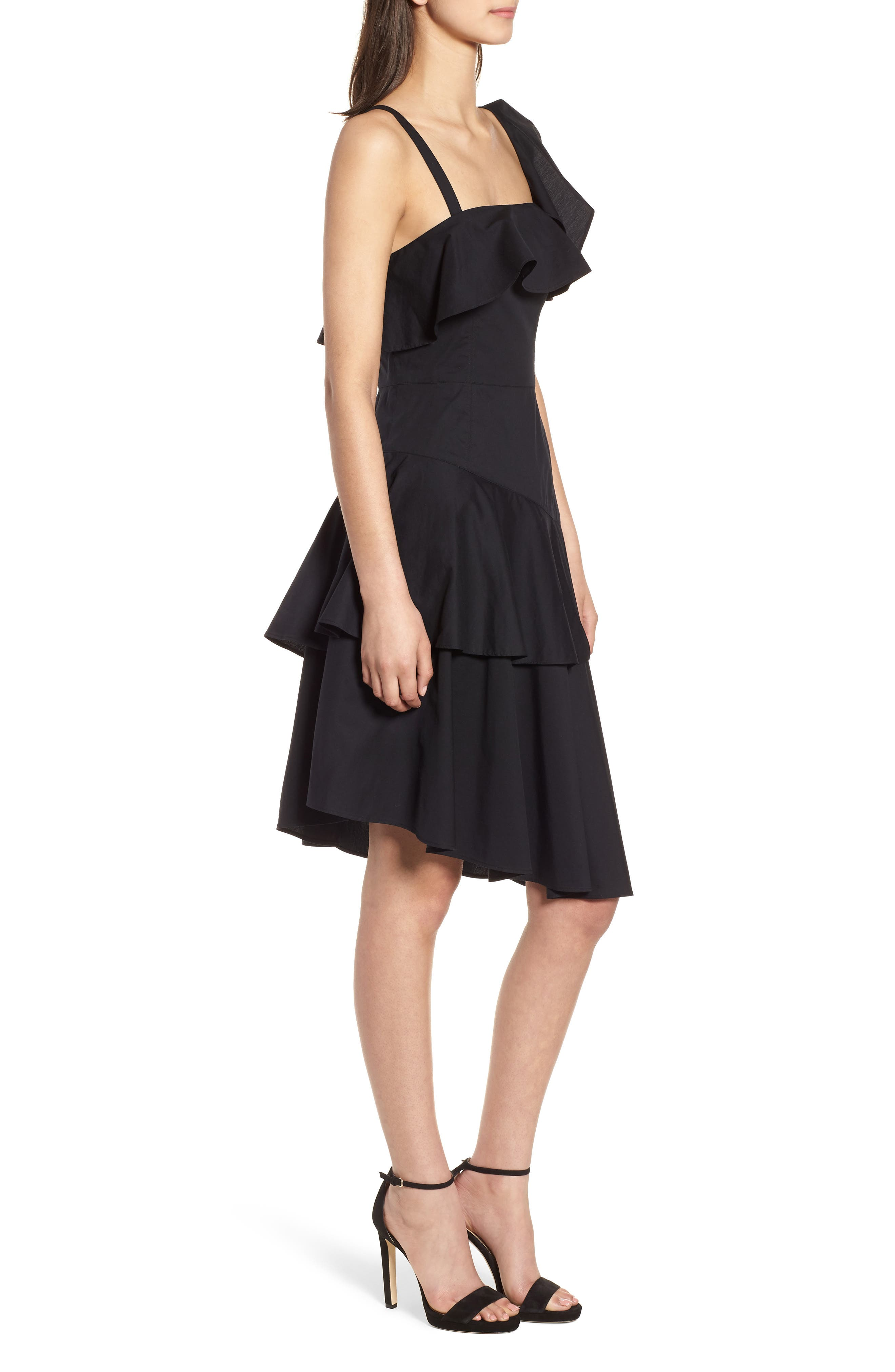 Ruffle One-Shoulder Dress,                             Alternate thumbnail 3, color,                             Black