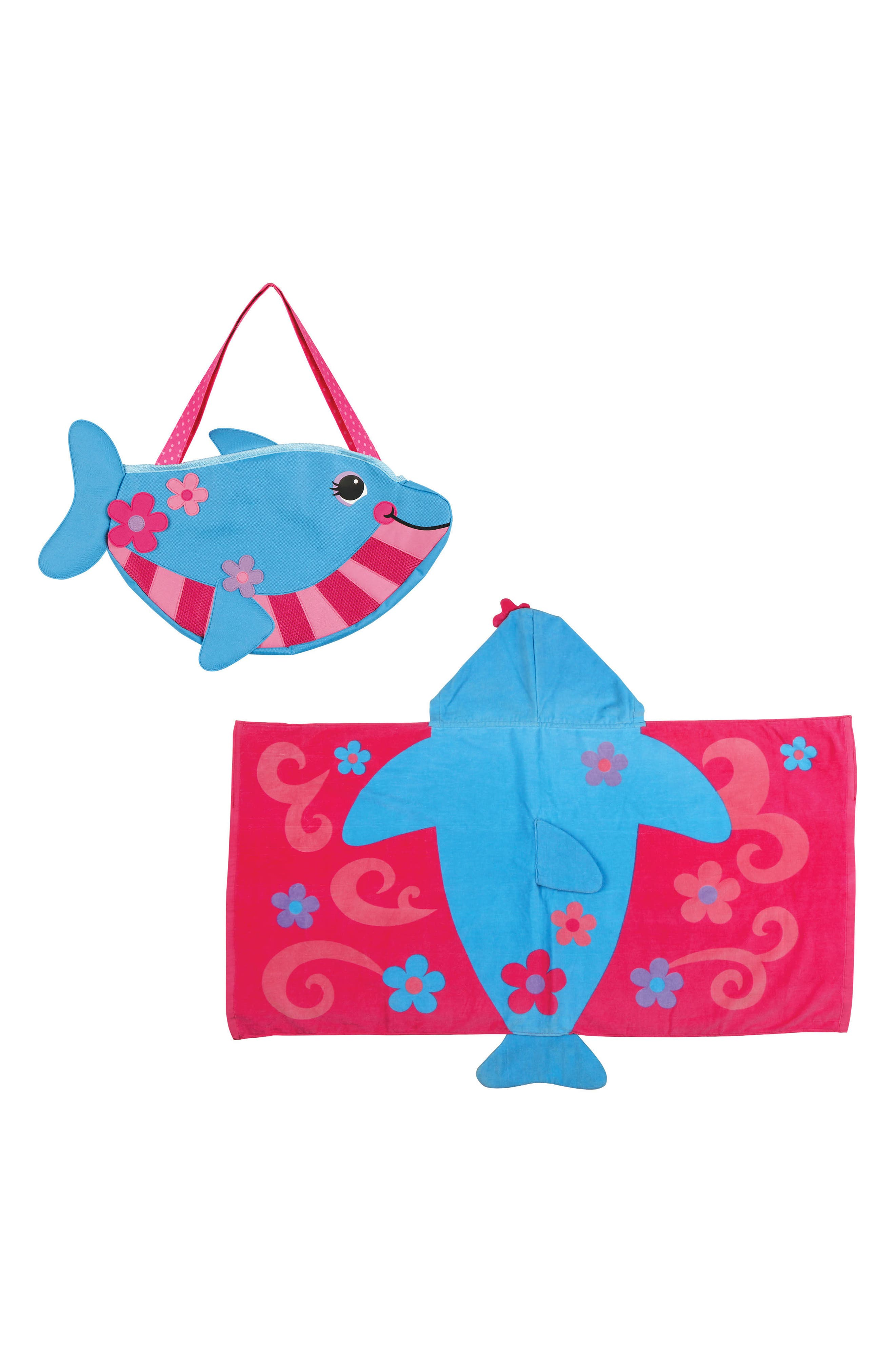 Beach Tote, Hooded Towel & Toys,                         Main,                         color, Blue Dolphin