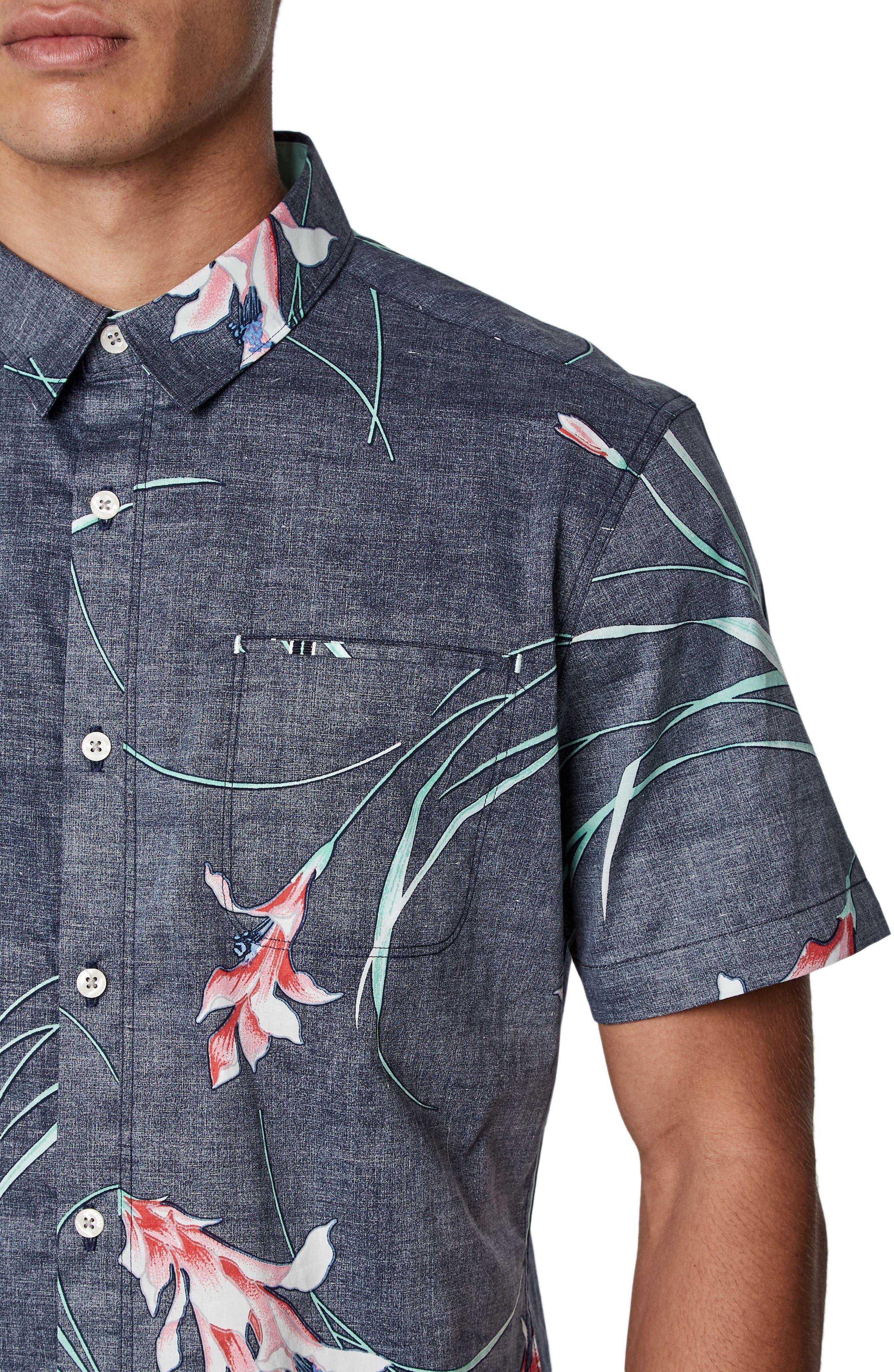 Inner Bloom Trim Fit Stretch Sport Shirt,                             Alternate thumbnail 2, color,                             Navy