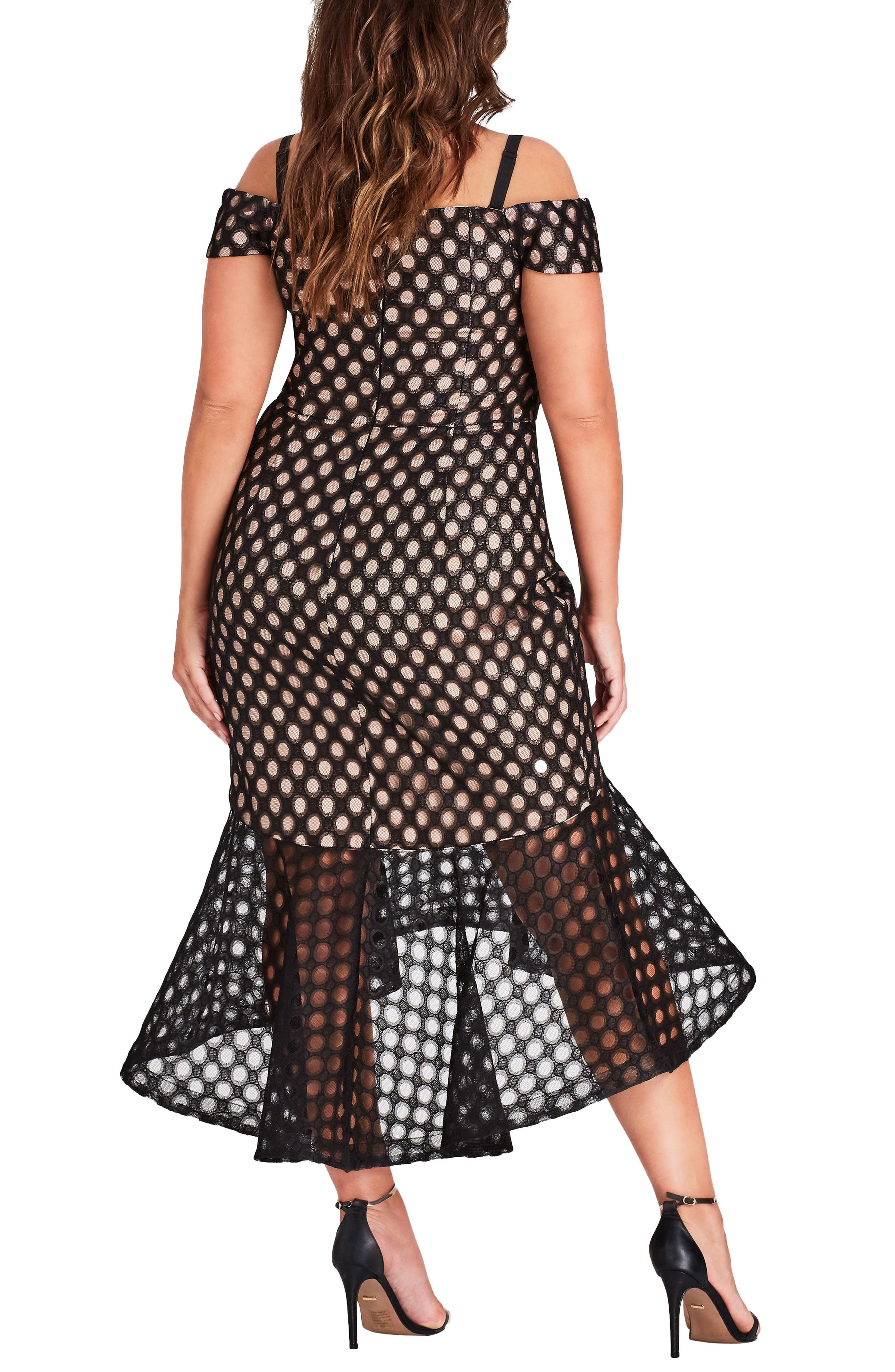 Envie Cold Shoulder Mesh Mermaid Dress,                             Alternate thumbnail 2, color,                             Black