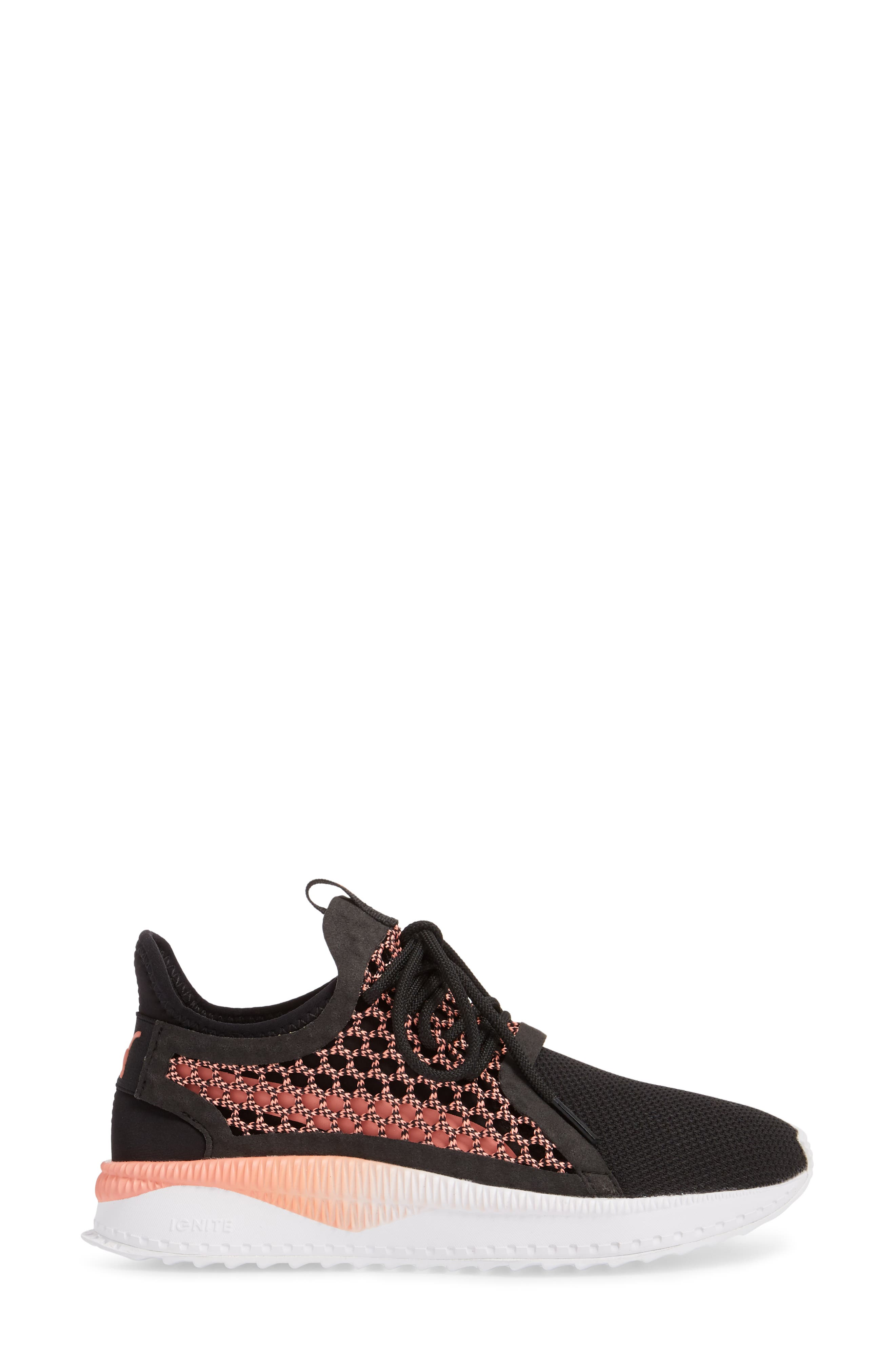 Tsugi Netfit evoKNIT Training Shoe,                             Alternate thumbnail 3, color,                             Black/ Shell Pink/ White
