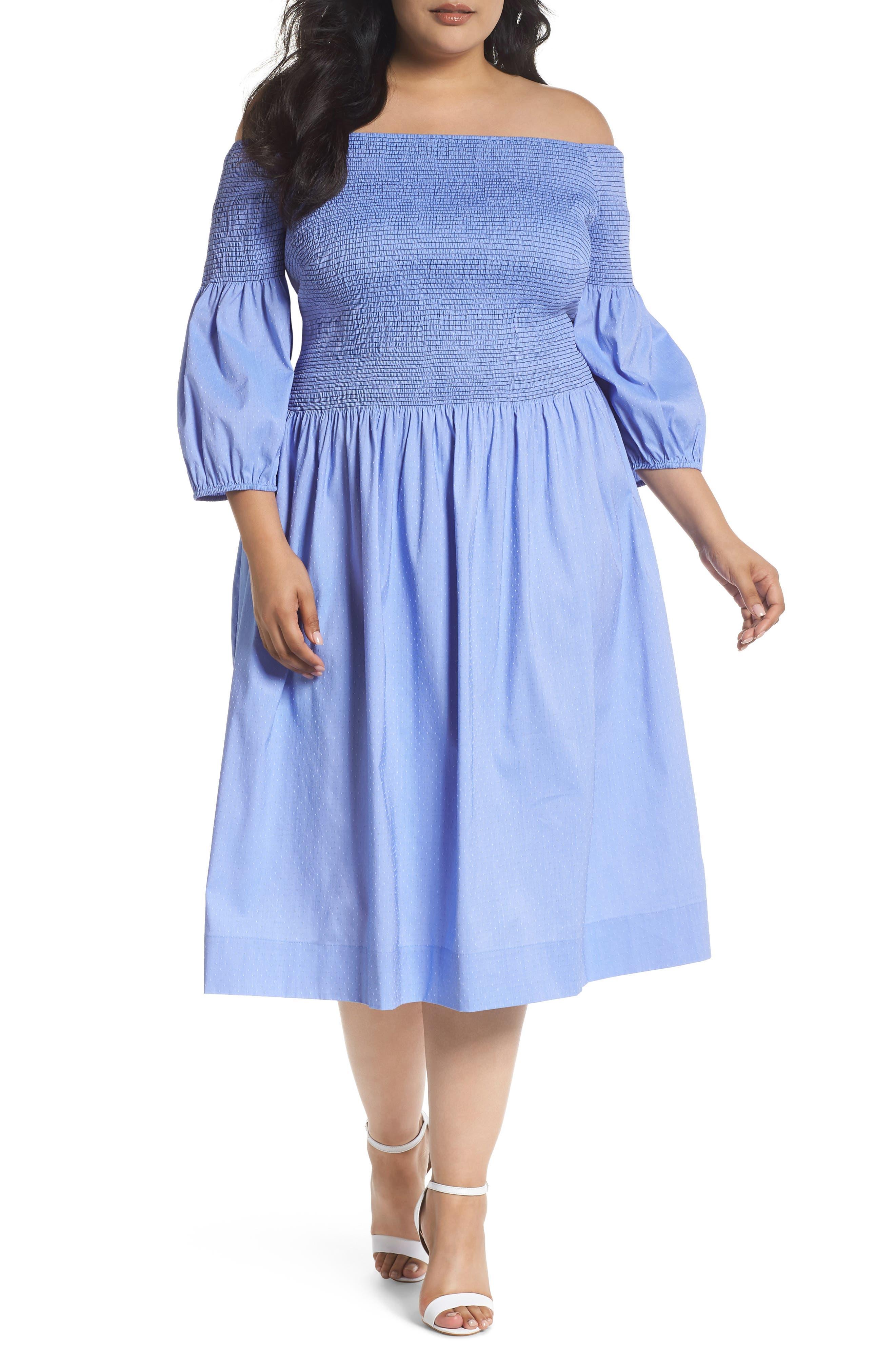 Off the Shoulder Smocked Bodice Midi Dress,                             Main thumbnail 1, color,                             Blue Ivory Swiss Dot