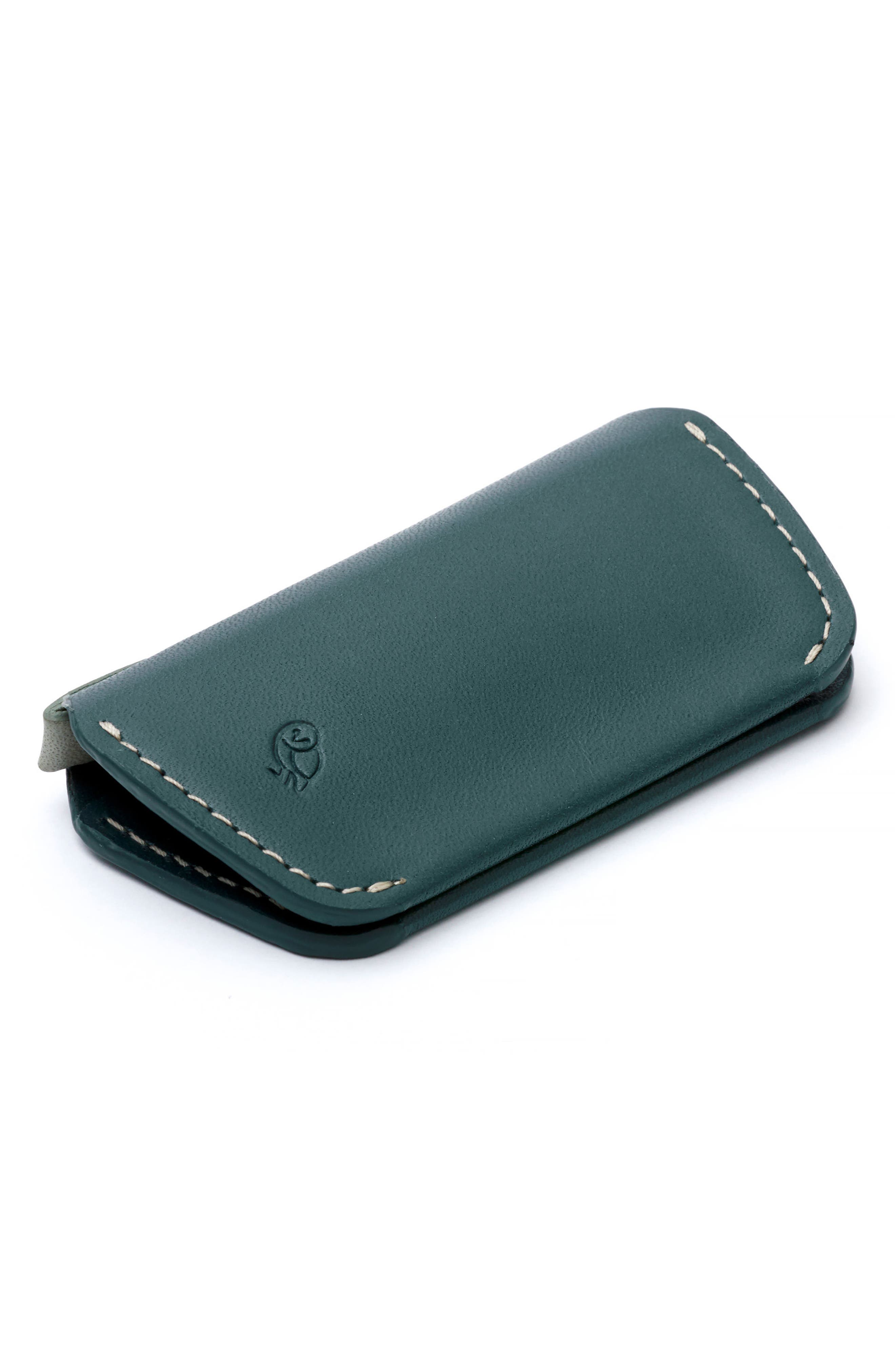 Leather Key Cover,                             Alternate thumbnail 5, color,                             Teal