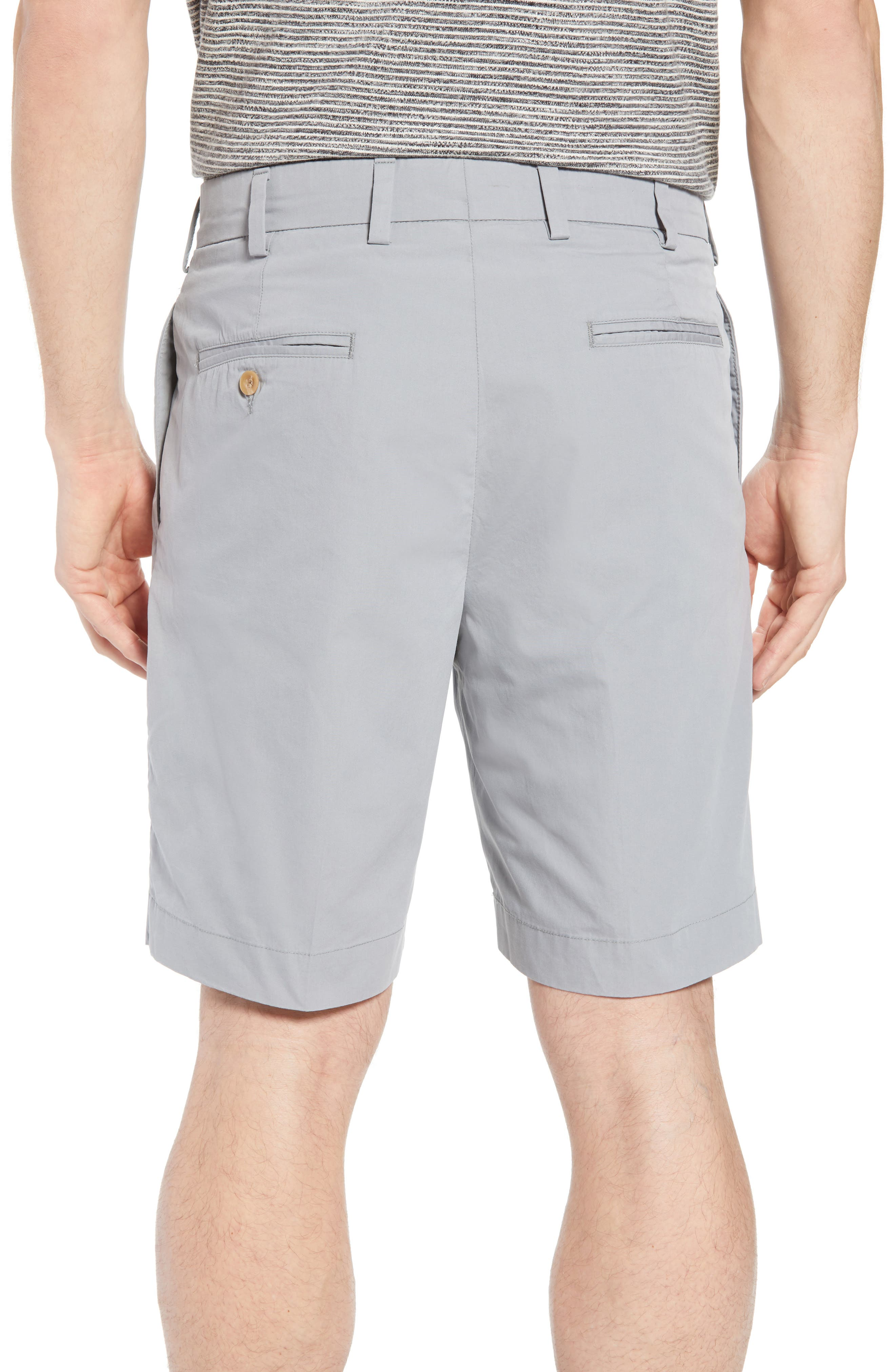 M2 Classic Fit Pleated Tropical Cotton Poplin Shorts,                             Alternate thumbnail 2, color,                             Nickel