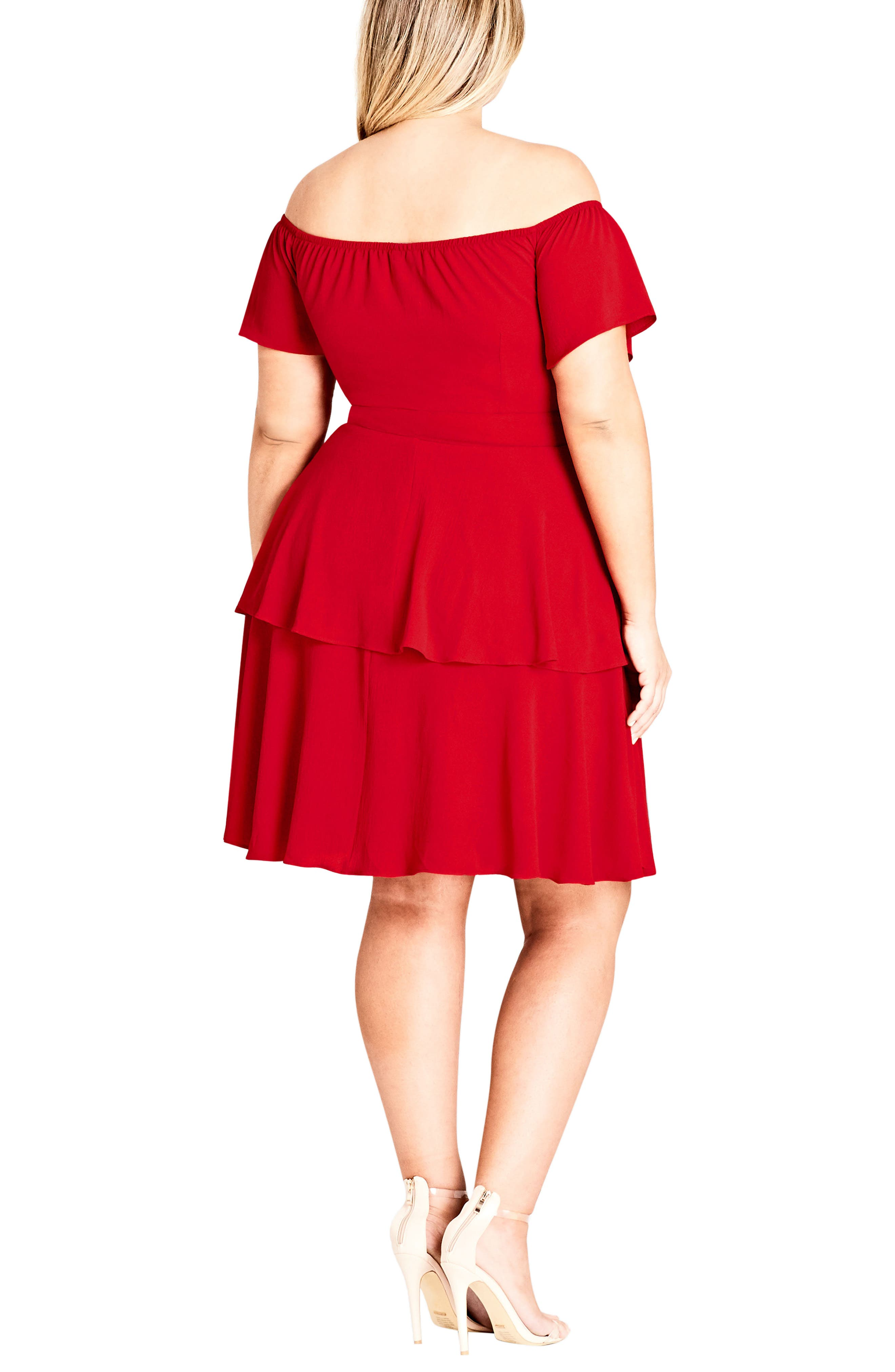 True Romance Off the Shoulder Dress,                             Alternate thumbnail 2, color,                             Red