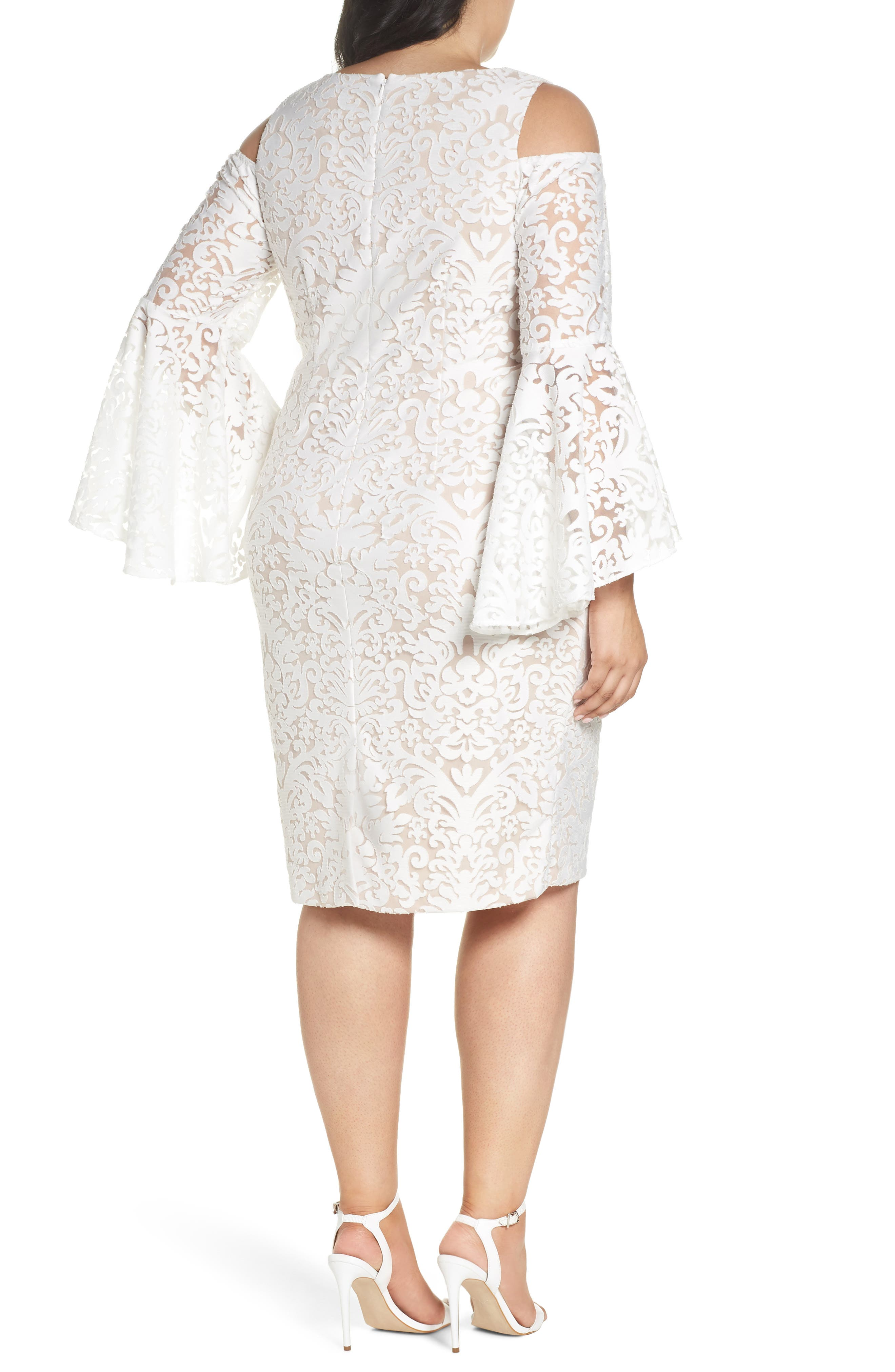 Lace Bell Sleeve Sheath Dress,                             Alternate thumbnail 2, color,                             Ivory/ Blush