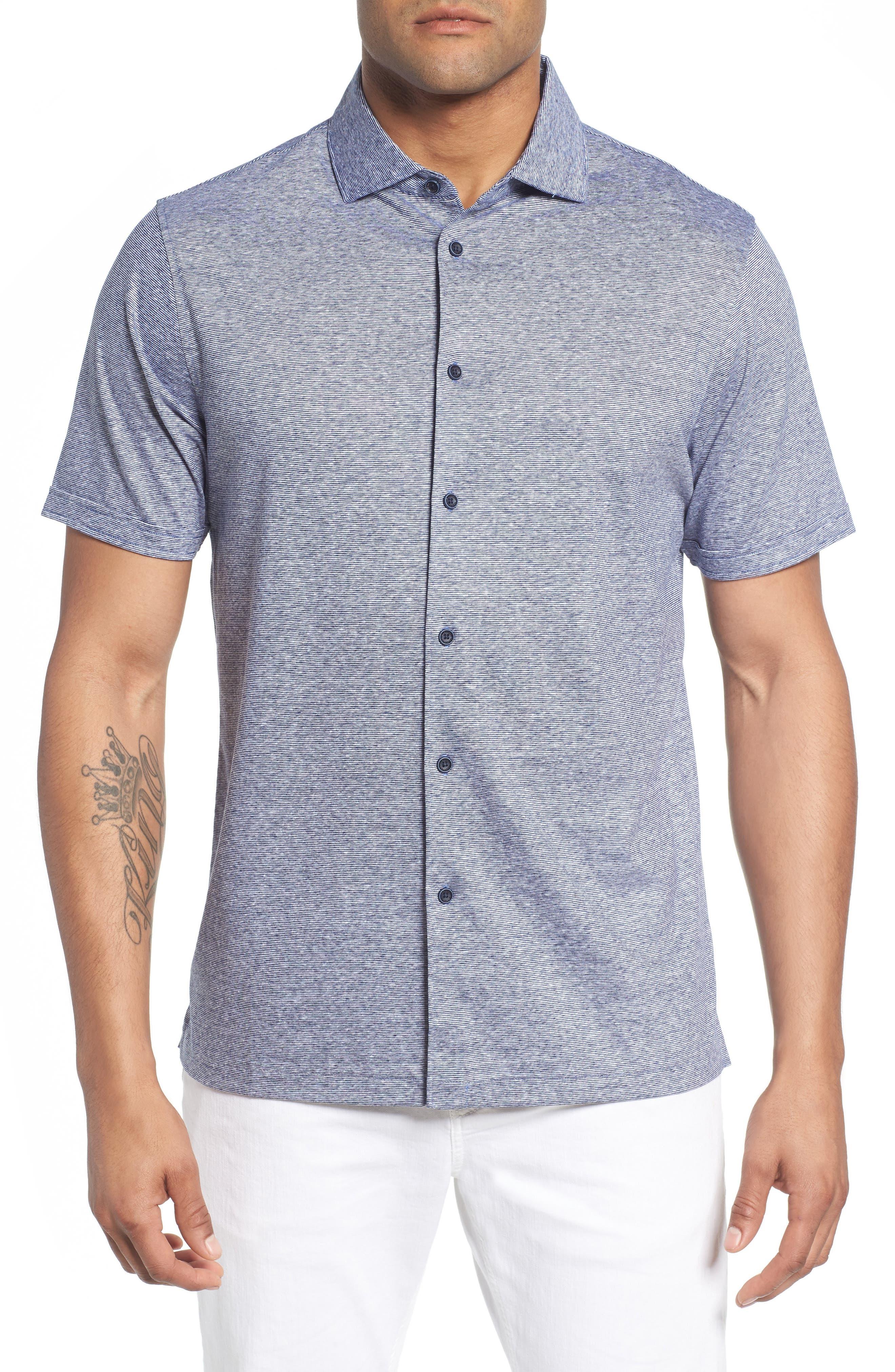 Knit Sport Shirt,                         Main,                         color, Navy