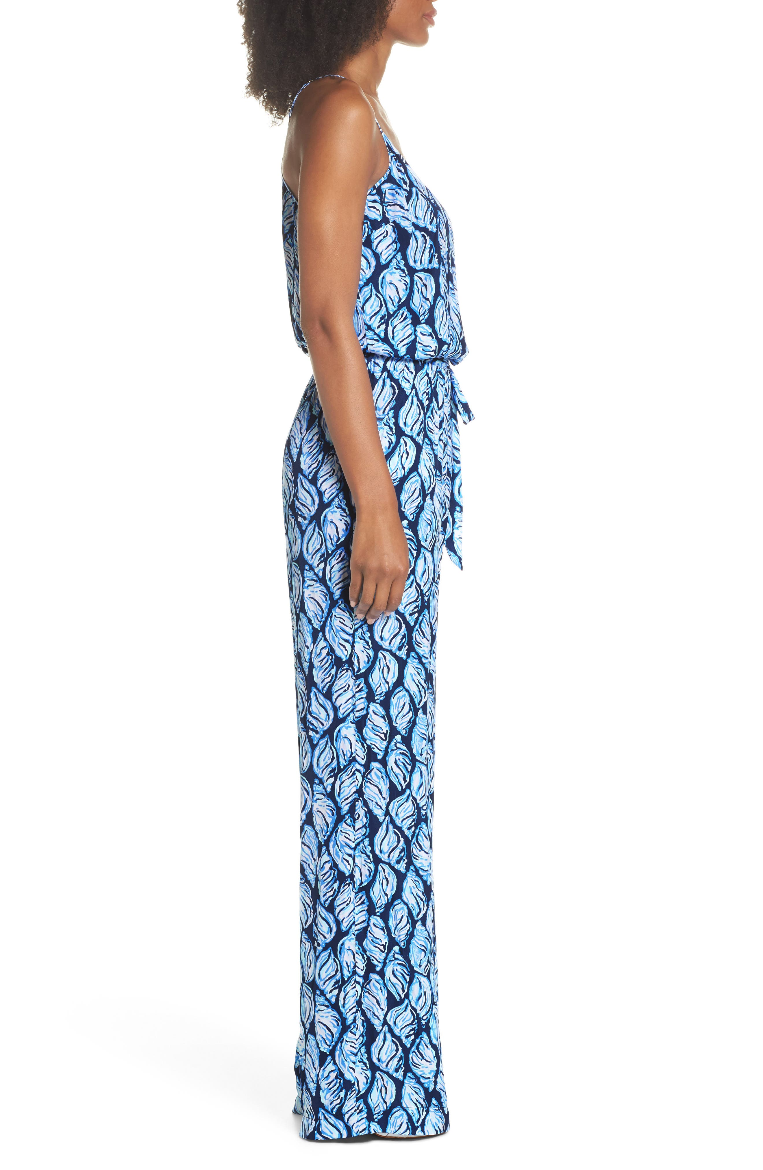 Lilly Pulizter<sup>®</sup> Dusk Sleeveless Jumpsuit,                             Alternate thumbnail 3, color,                             High Tide Drop In