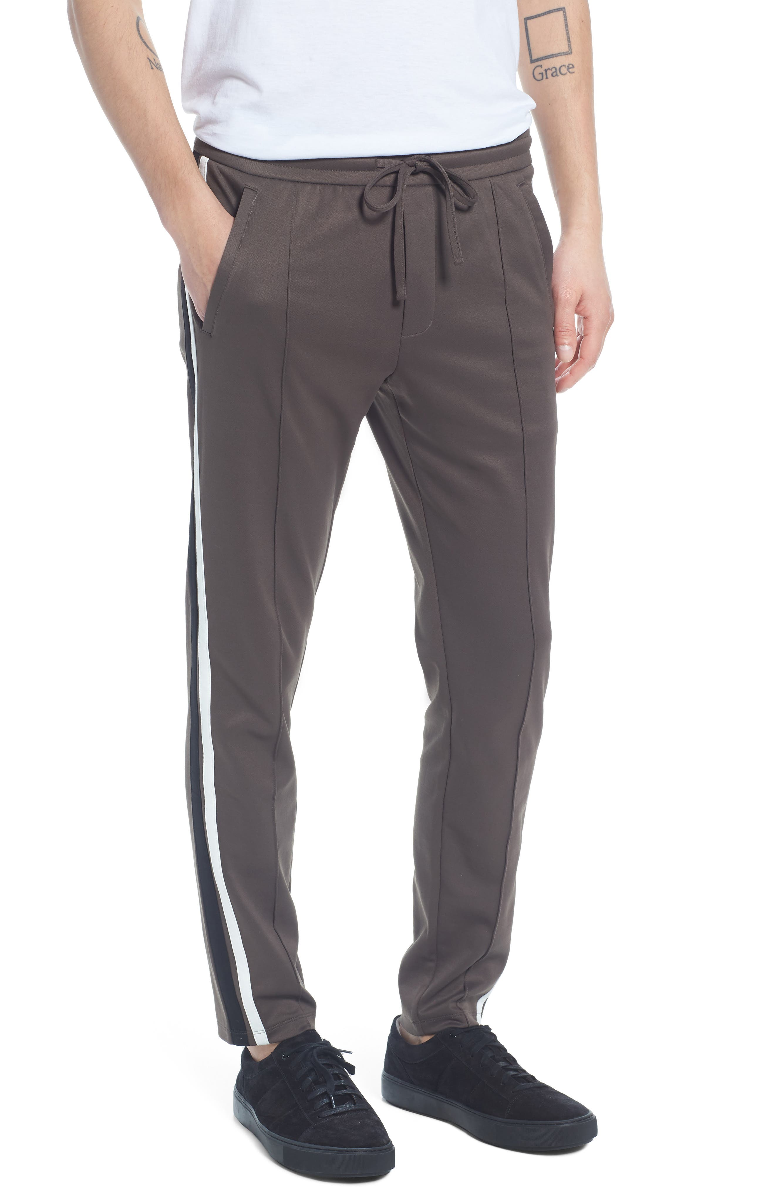 Color Block Track Pants,                         Main,                         color, Dried Herb