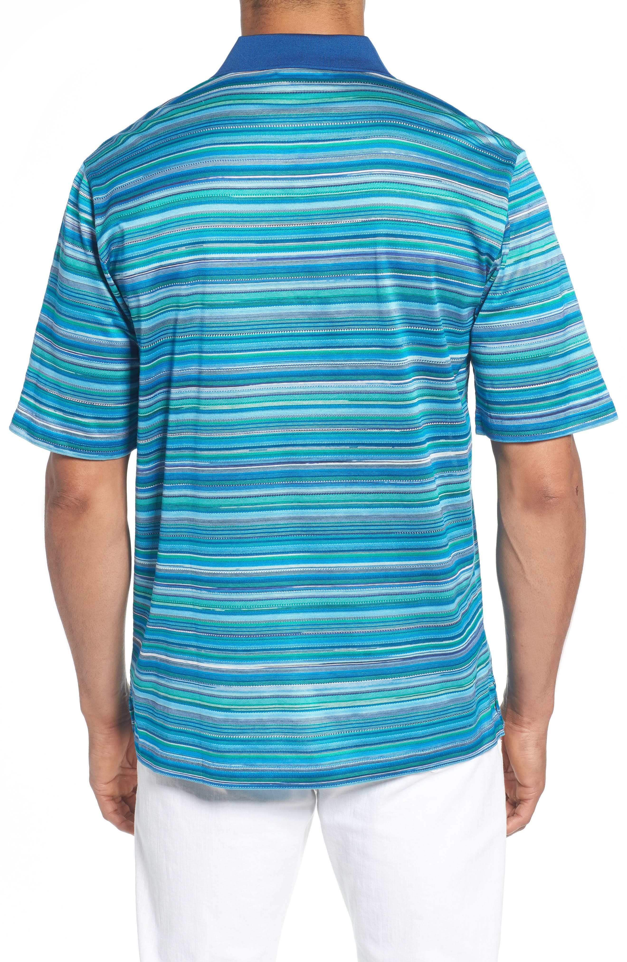 Stripe Mercerized Cotton Polo,                             Alternate thumbnail 2, color,                             Paradise