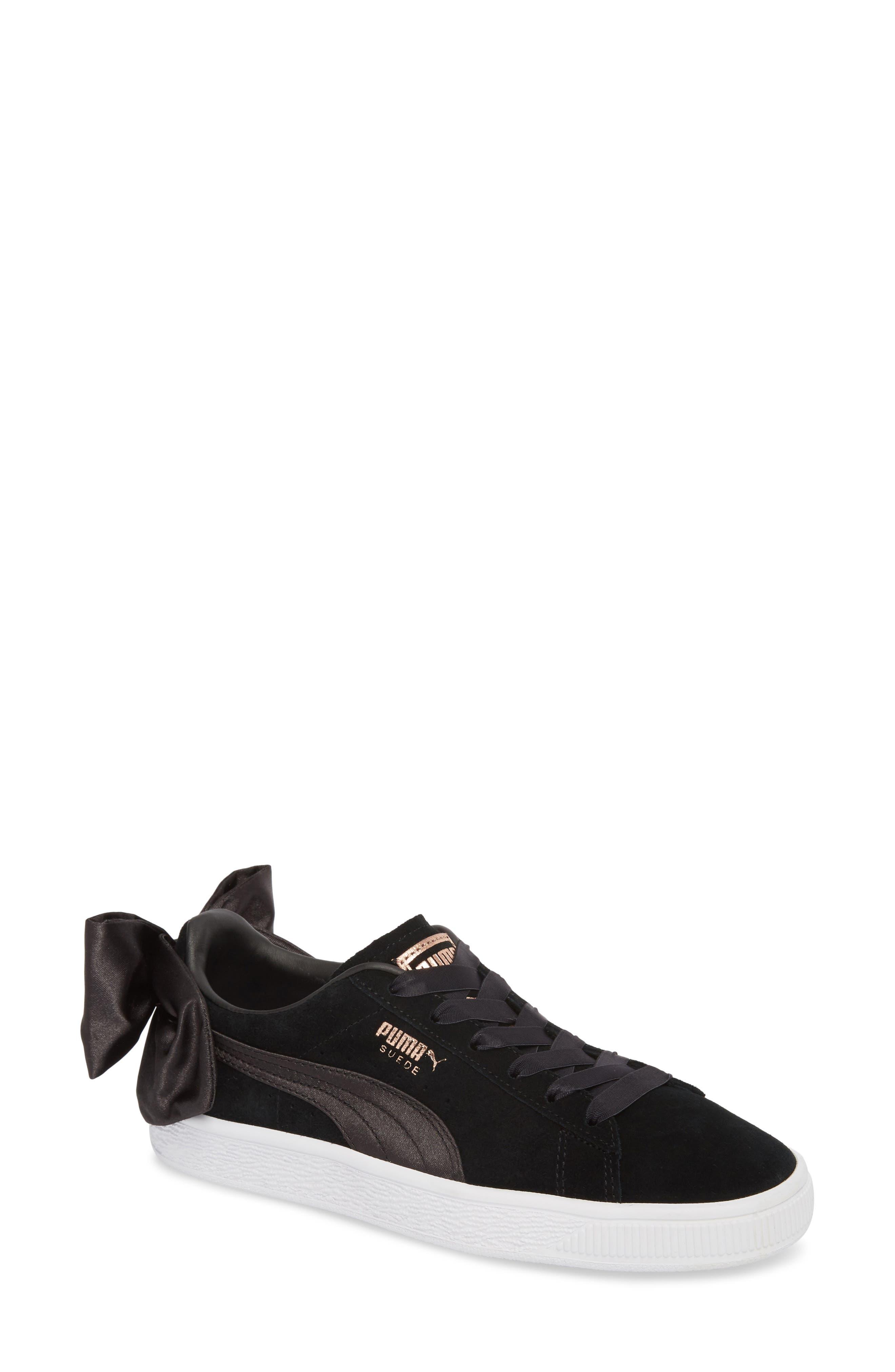 Bow Sneaker,                             Main thumbnail 1, color,                             Black/ Black
