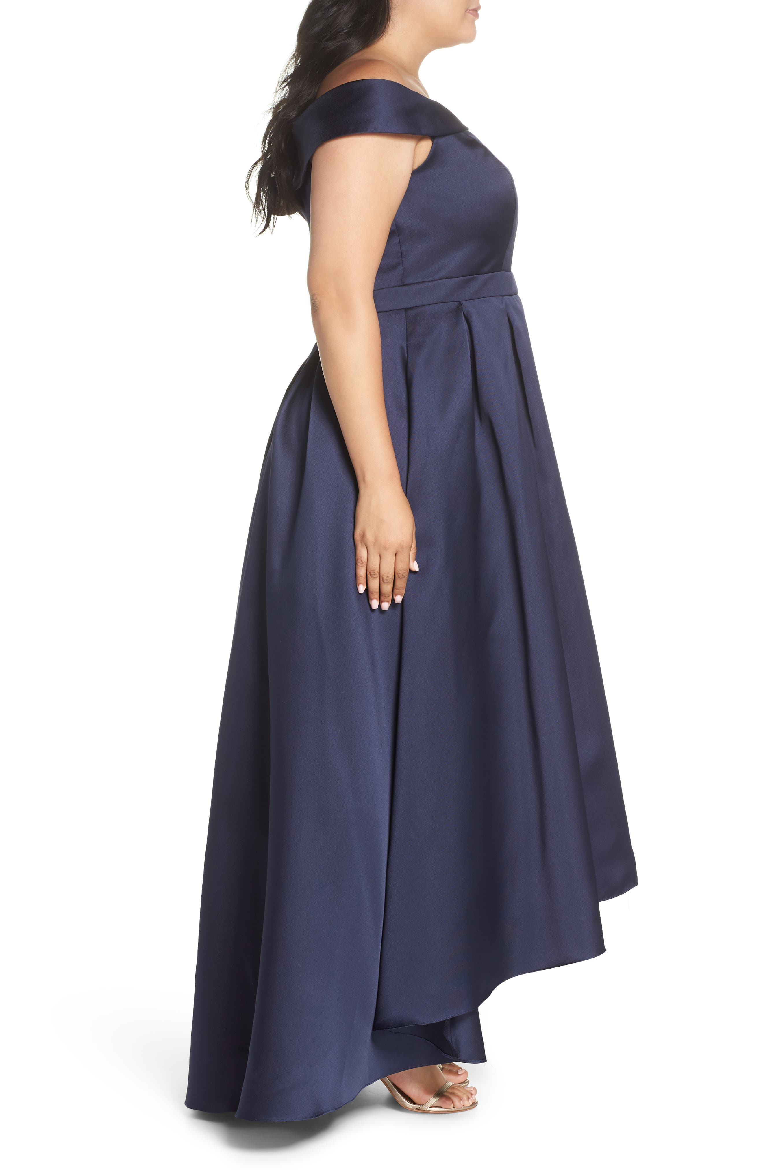 Off the Shoulder Mikado High/Low Gown,                             Alternate thumbnail 3, color,                             Navy