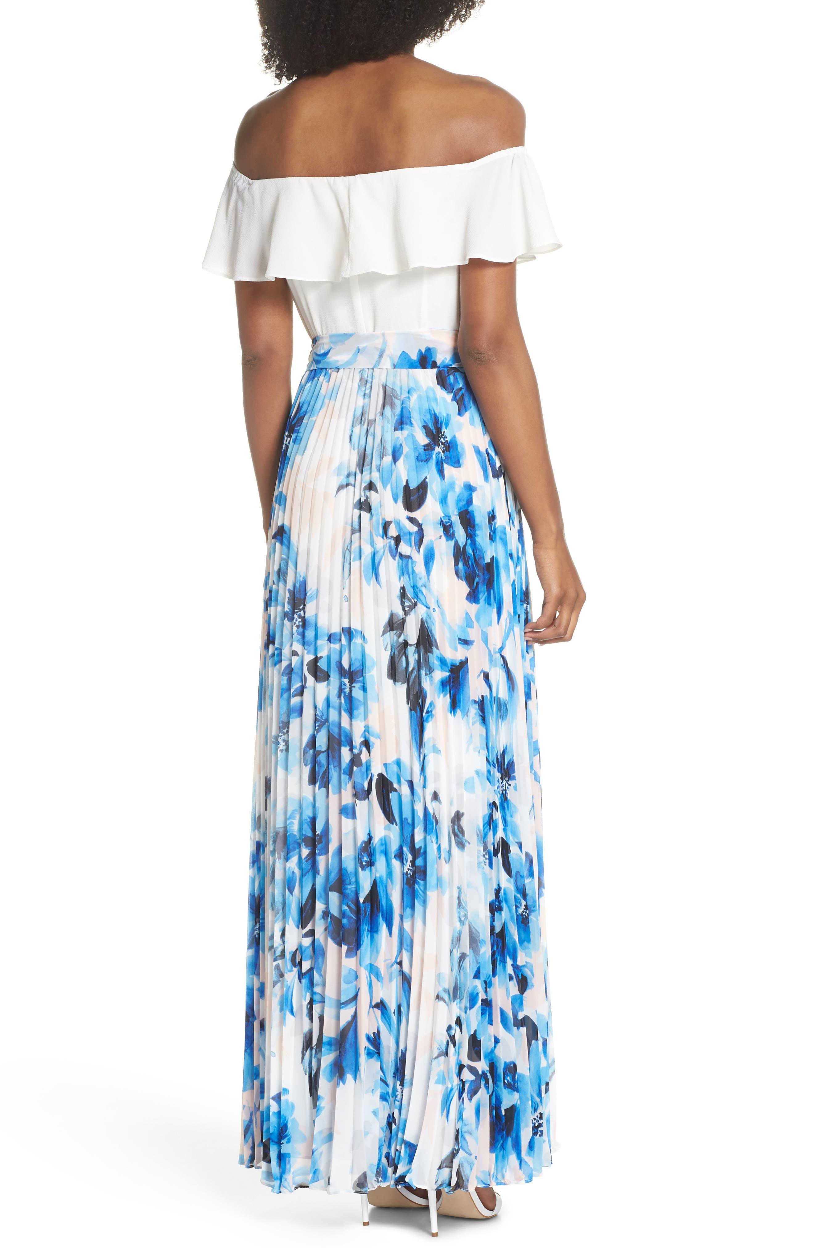 Ruffle Off the Shoulder Maxi Dress,                             Alternate thumbnail 2, color,                             Blue