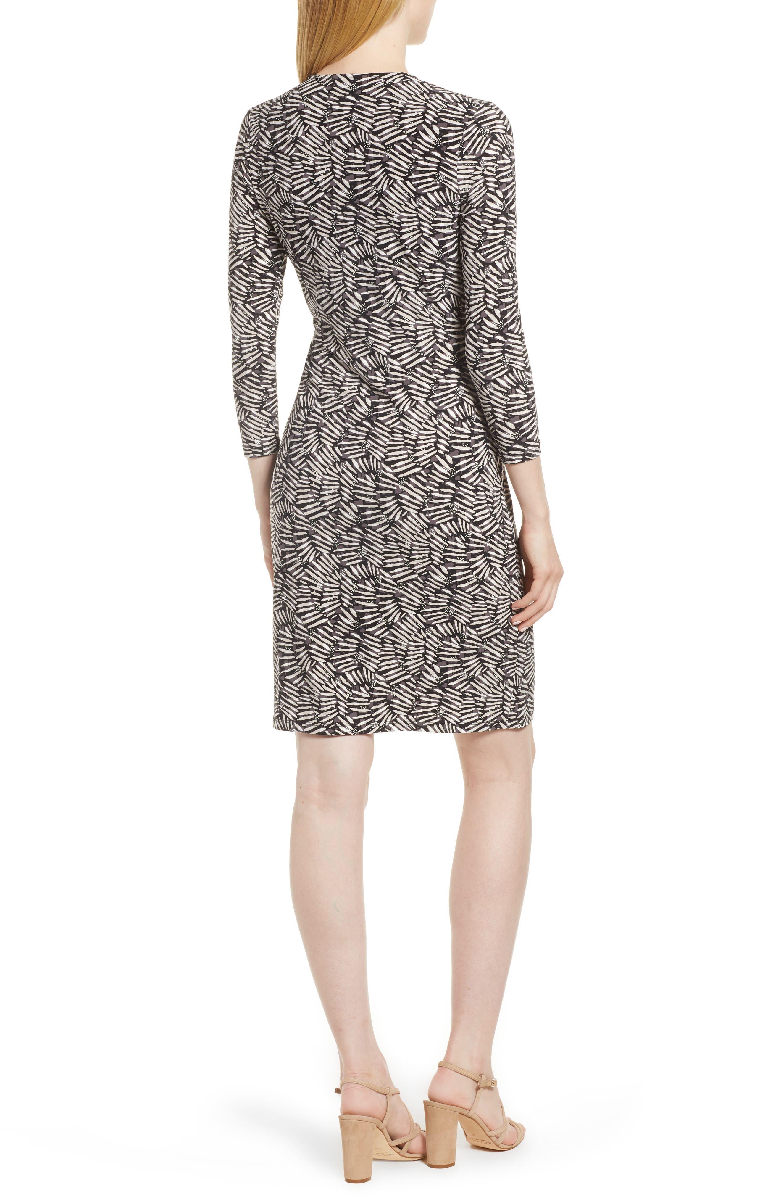 Cedarwood Stretch Crepe Faux Wrap Dress,                             Alternate thumbnail 2, color,                             Black/ Oyster Shell Combo