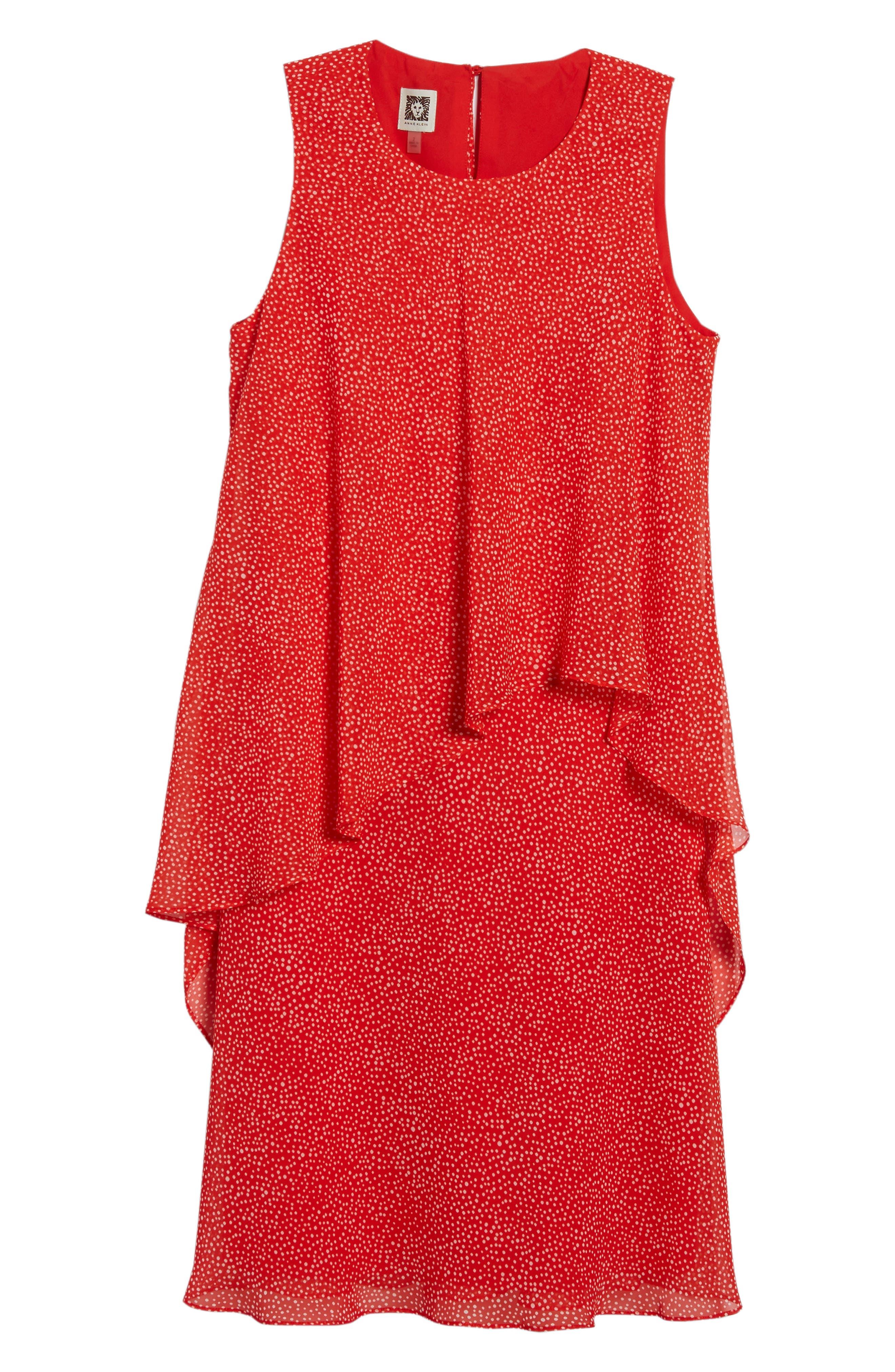 Chiffon Overlay A-Line Dress,                             Alternate thumbnail 6, color,                             Tomato/ White