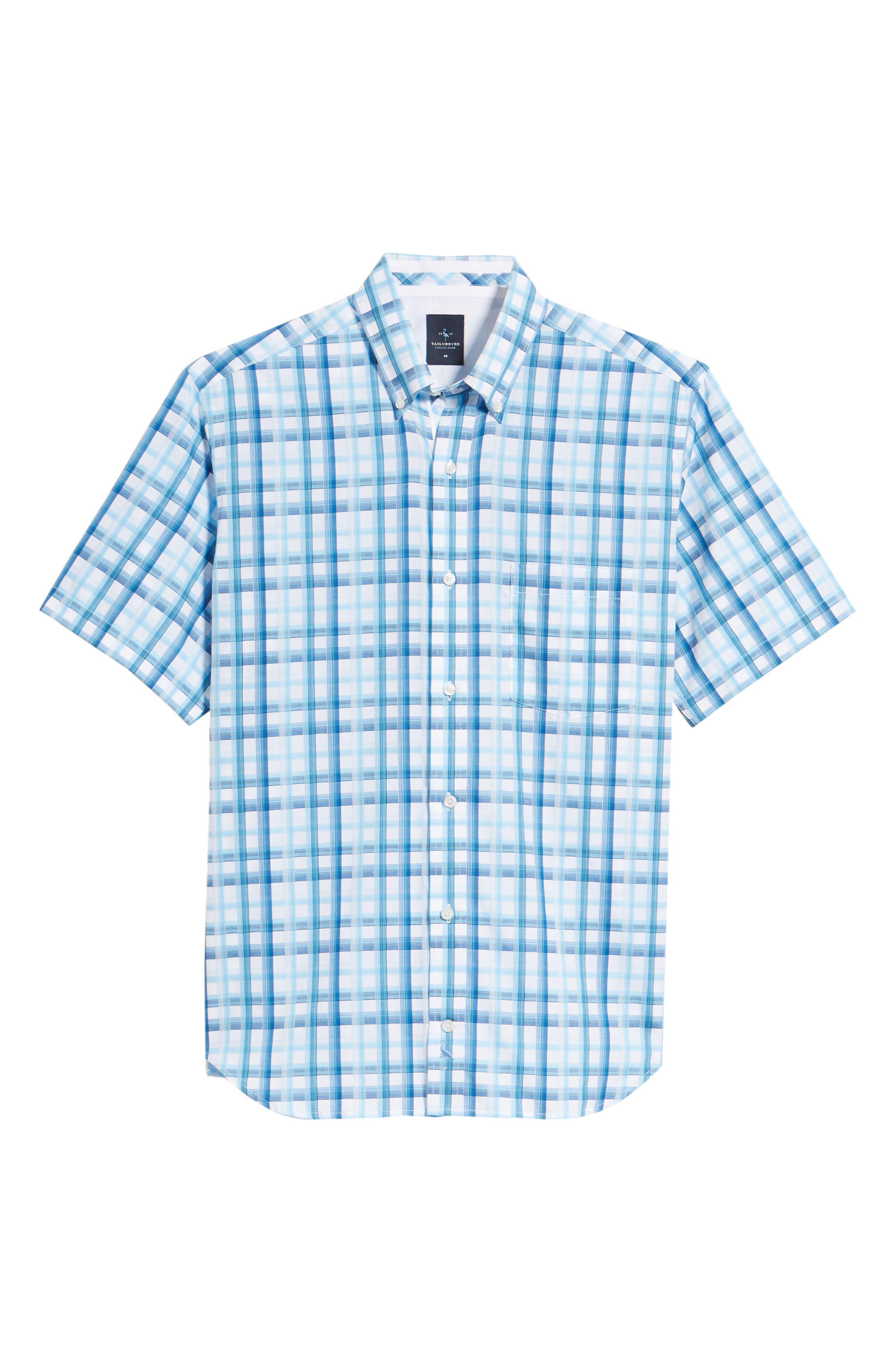 Larkin Regular Fit Plaid Sport Shirt,                             Alternate thumbnail 6, color,                             Aqua
