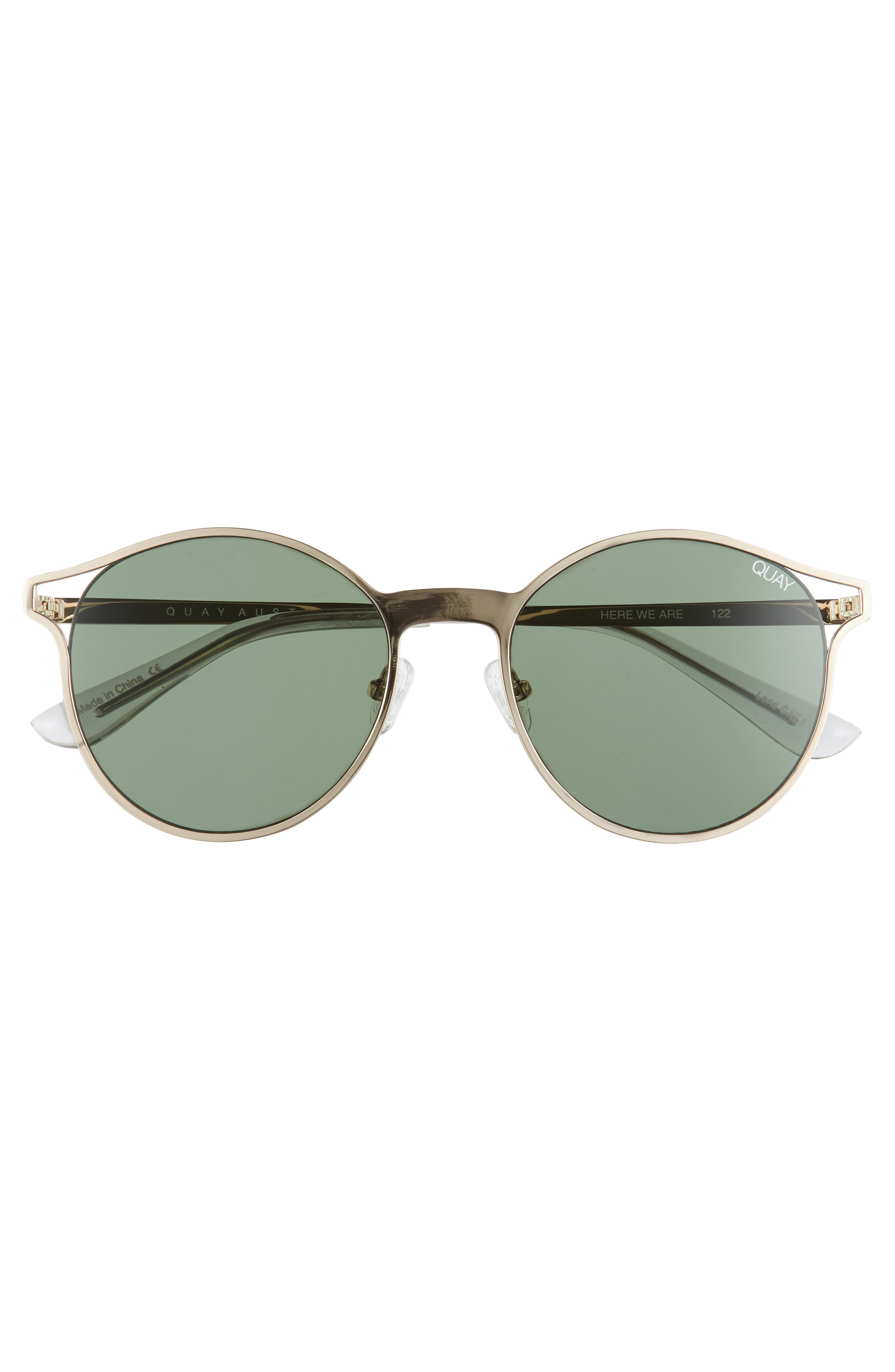 Here We Are 53mm Round Sunglasses,                             Alternate thumbnail 3, color,                             Gold/ Green