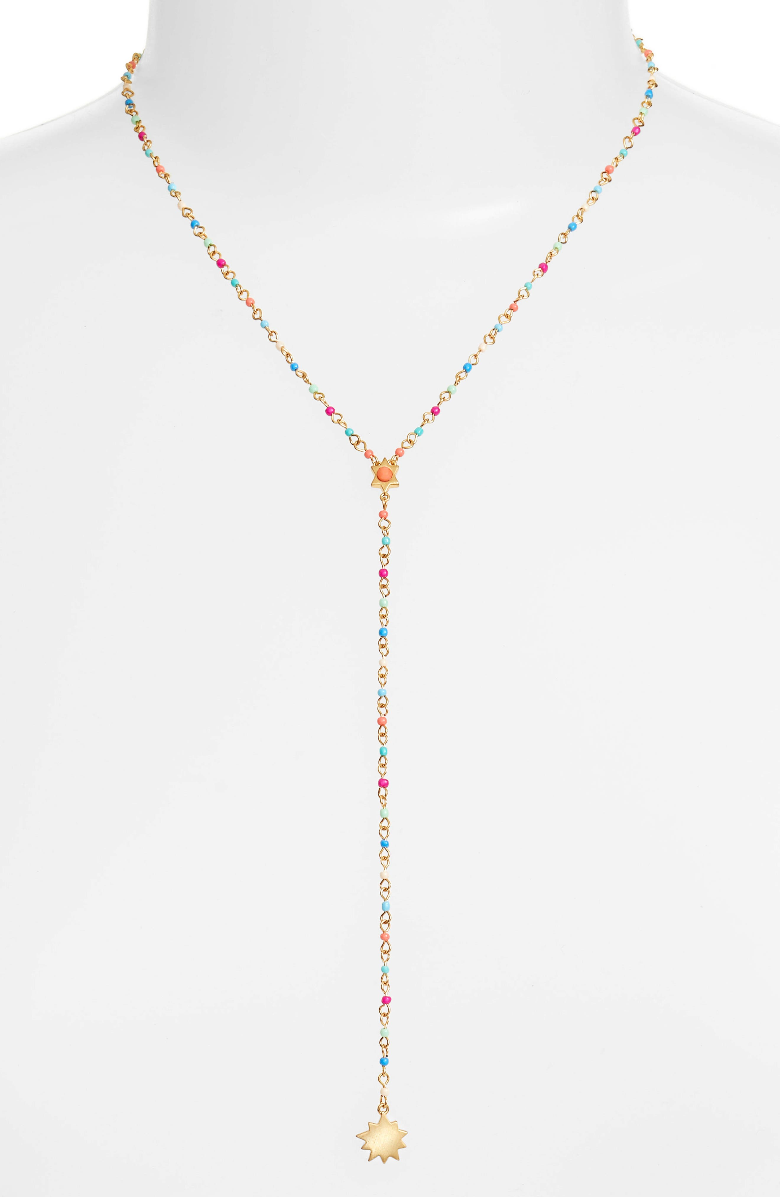 Sole Beaded Y-Necklace,                             Main thumbnail 1, color,                             Bright Multi/ Gold