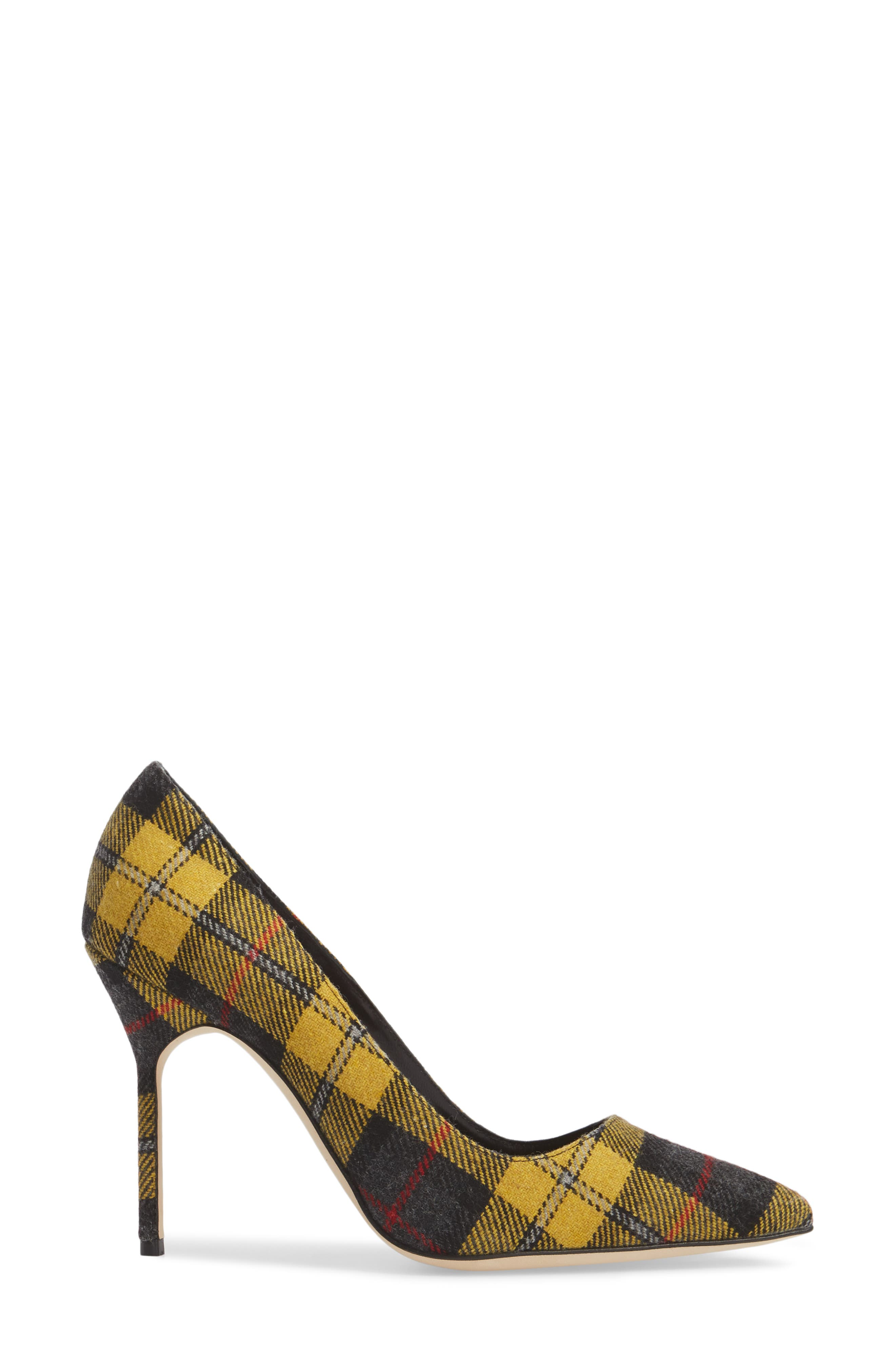 Pointy Toe Pump,                             Alternate thumbnail 3, color,                             Yellow Plaid
