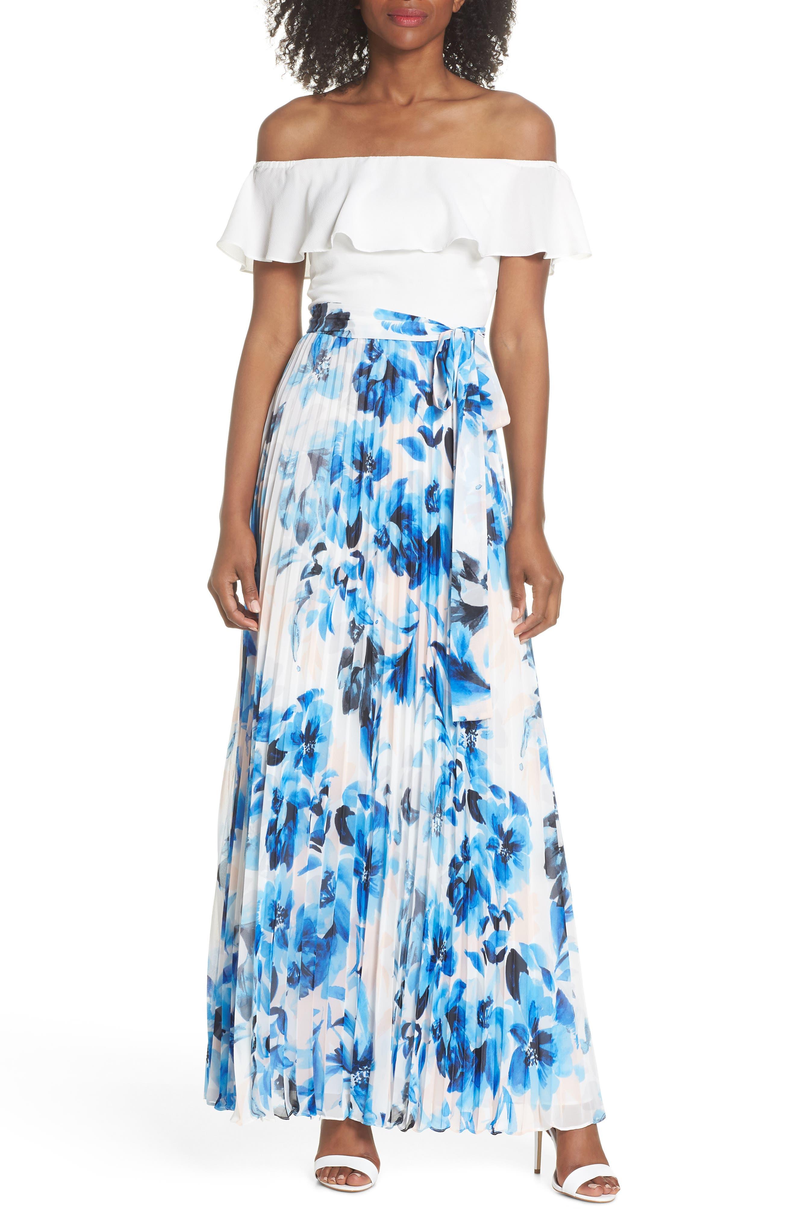 Ruffle Off the Shoulder Maxi Dress,                             Main thumbnail 1, color,                             Blue