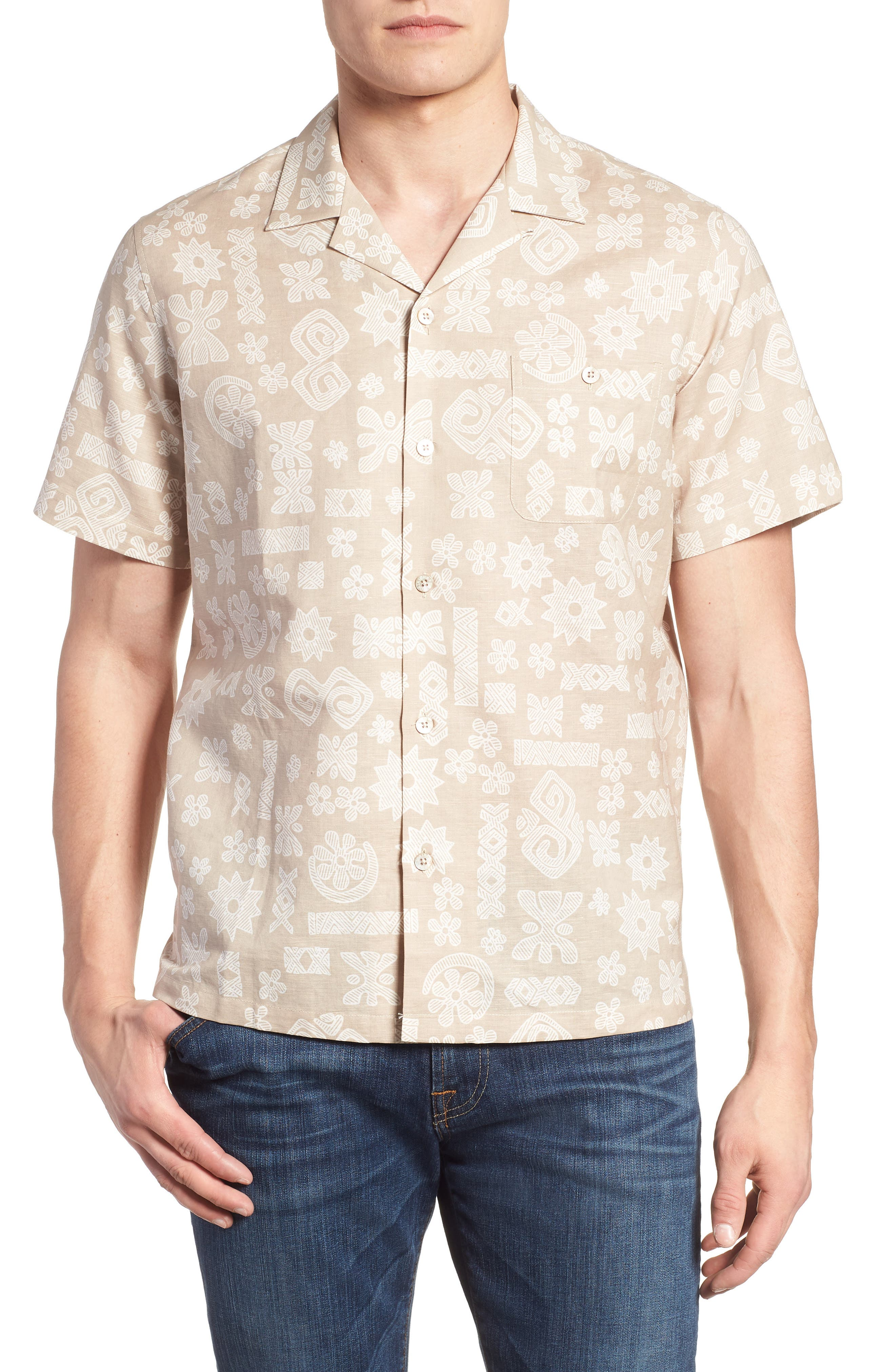 Tapa Twist Trim Fit Linen & Cotton Camp Shirt,                             Main thumbnail 1, color,                             Tan