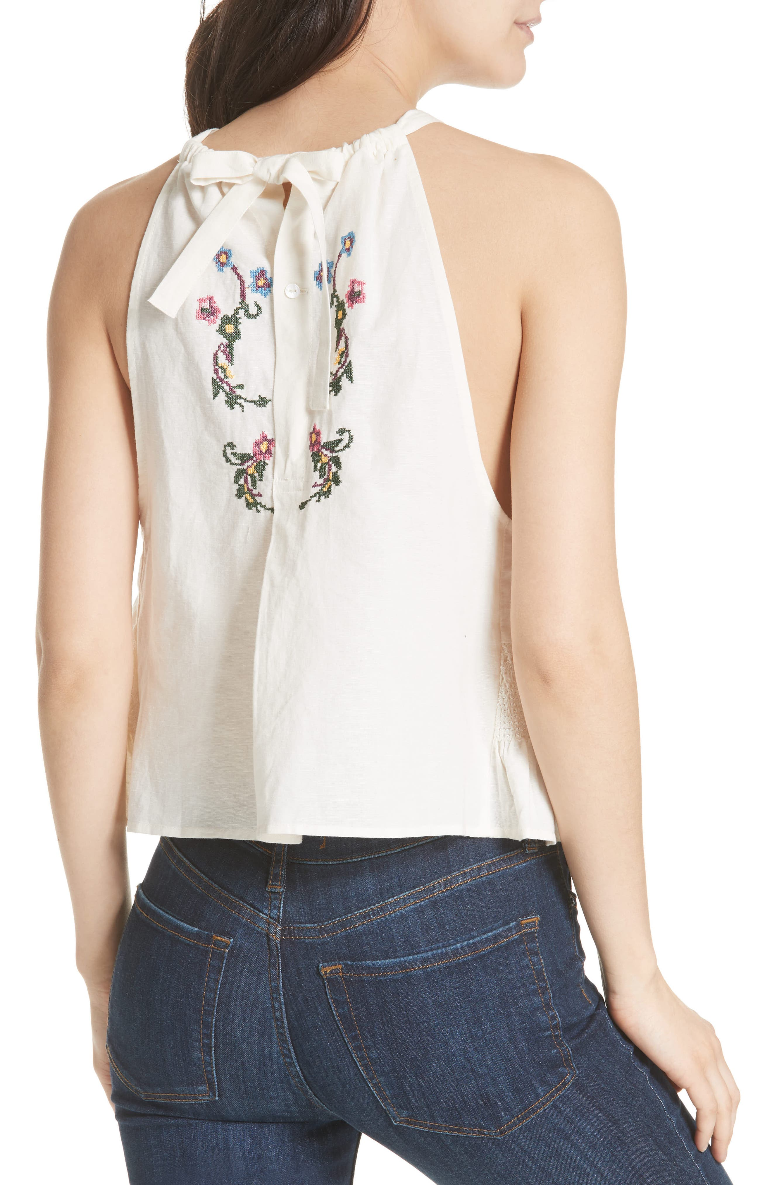Honey Pie Embroidered Tank,                             Alternate thumbnail 2, color,                             Ivory
