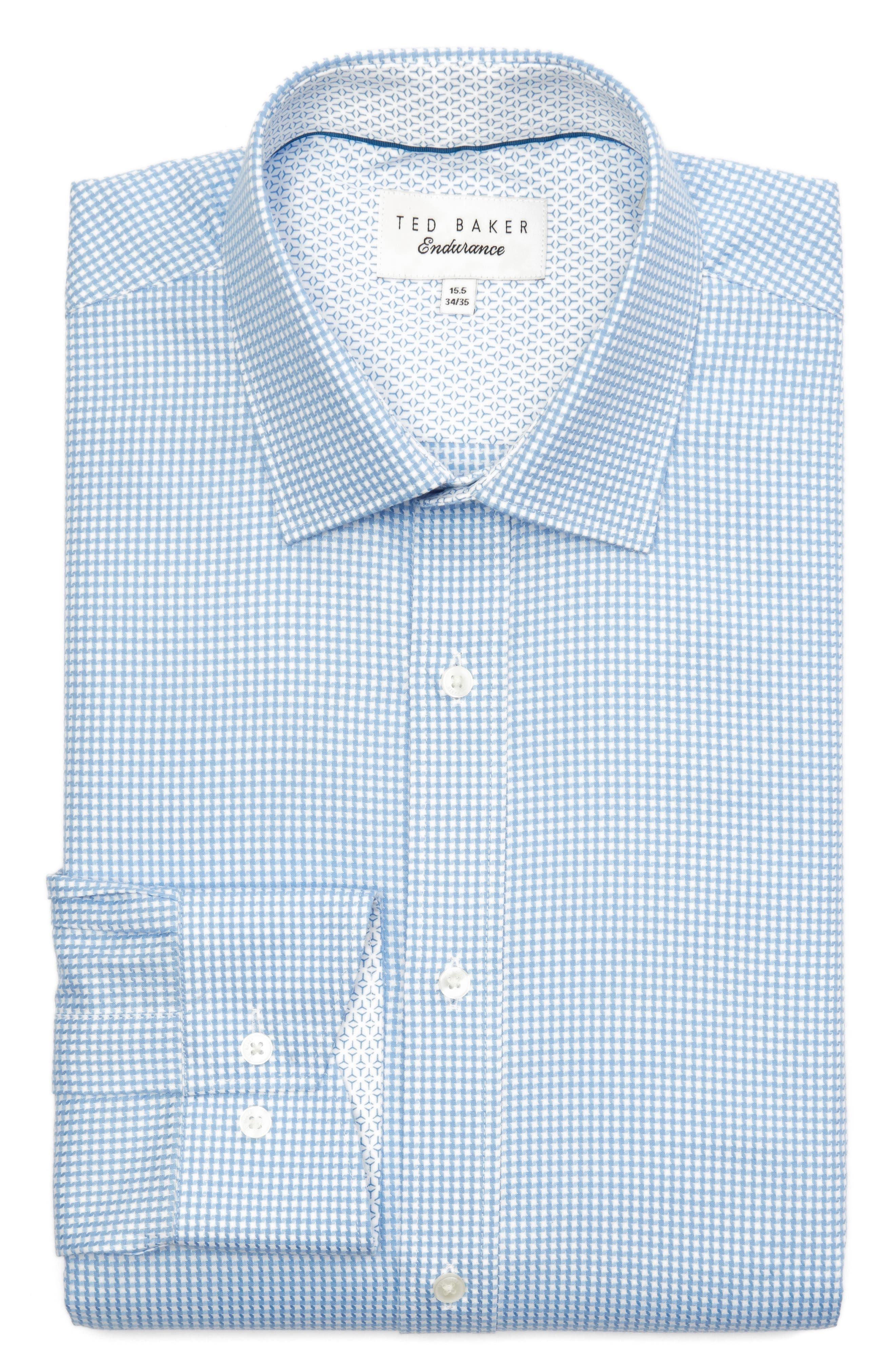 Jaiden Trim Fit Houndstooth Dress Shirt,                             Alternate thumbnail 6, color,                             Light Blue
