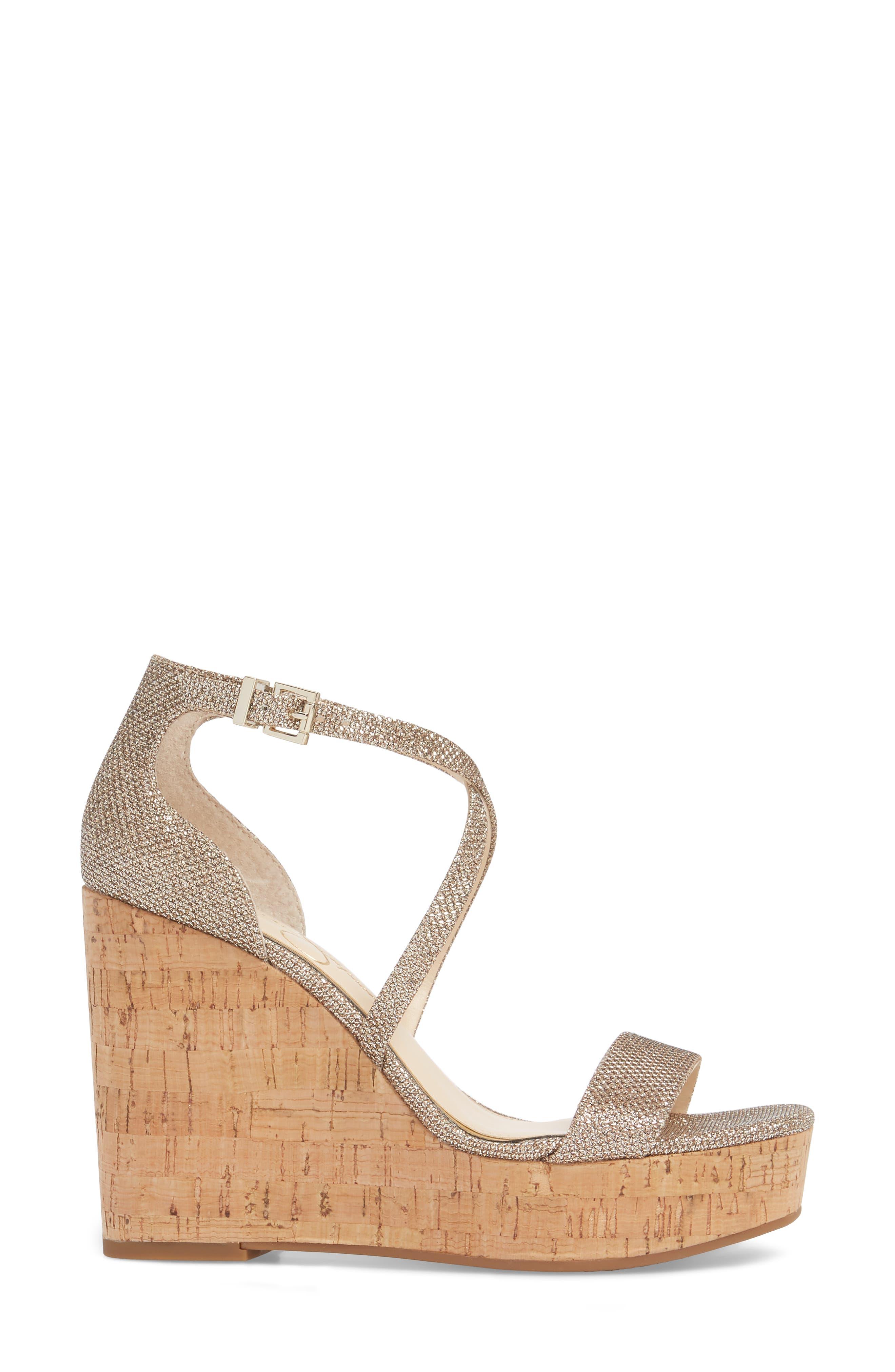 Stassi Cross Strap Wedge Sandal,                             Alternate thumbnail 3, color,                             Gold