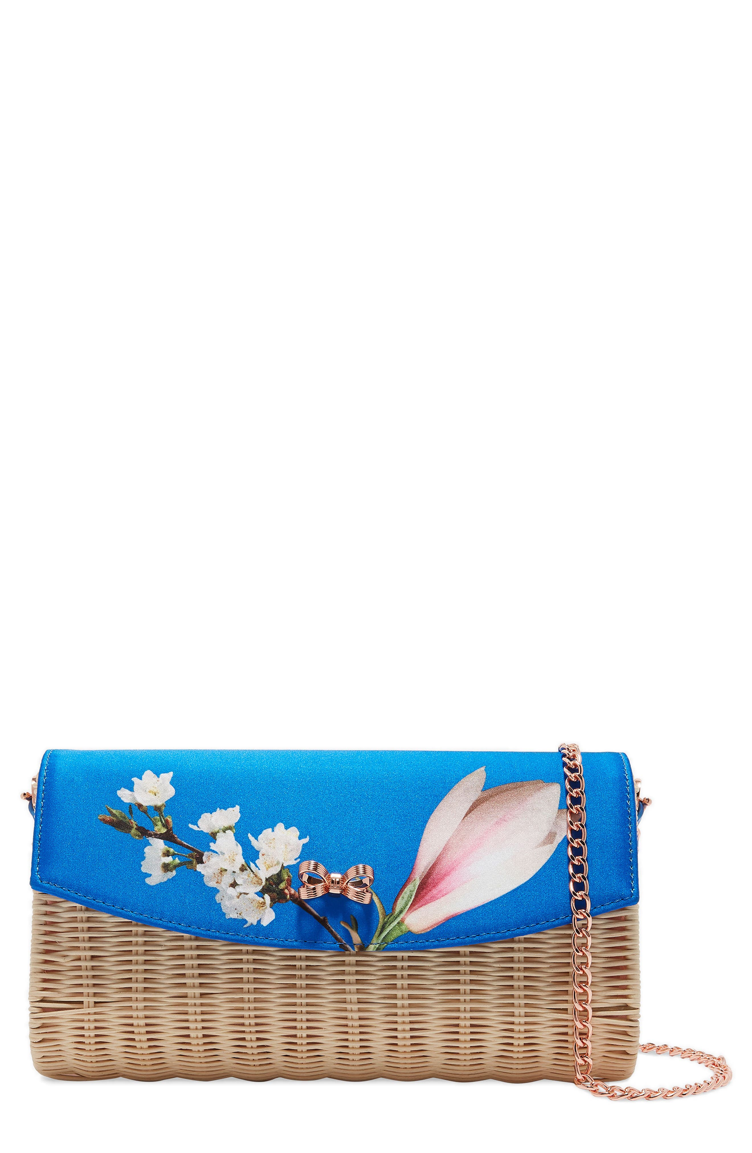Haarley Harmony Woven Rattan Clutch,                             Main thumbnail 1, color,                             Bright Blue