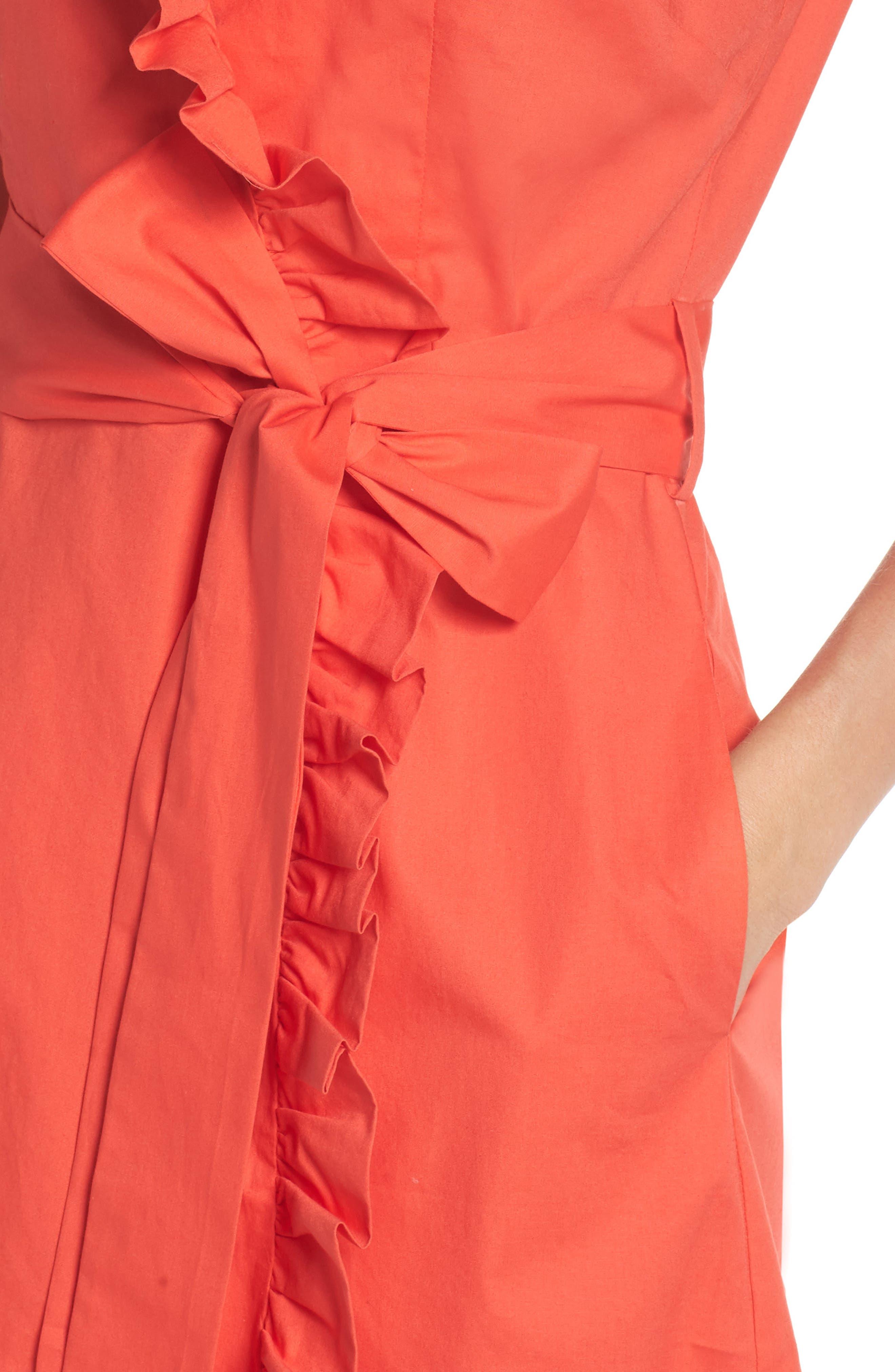 Ruffle Trim Poplin Wrap Dress,                             Alternate thumbnail 4, color,                             Coral