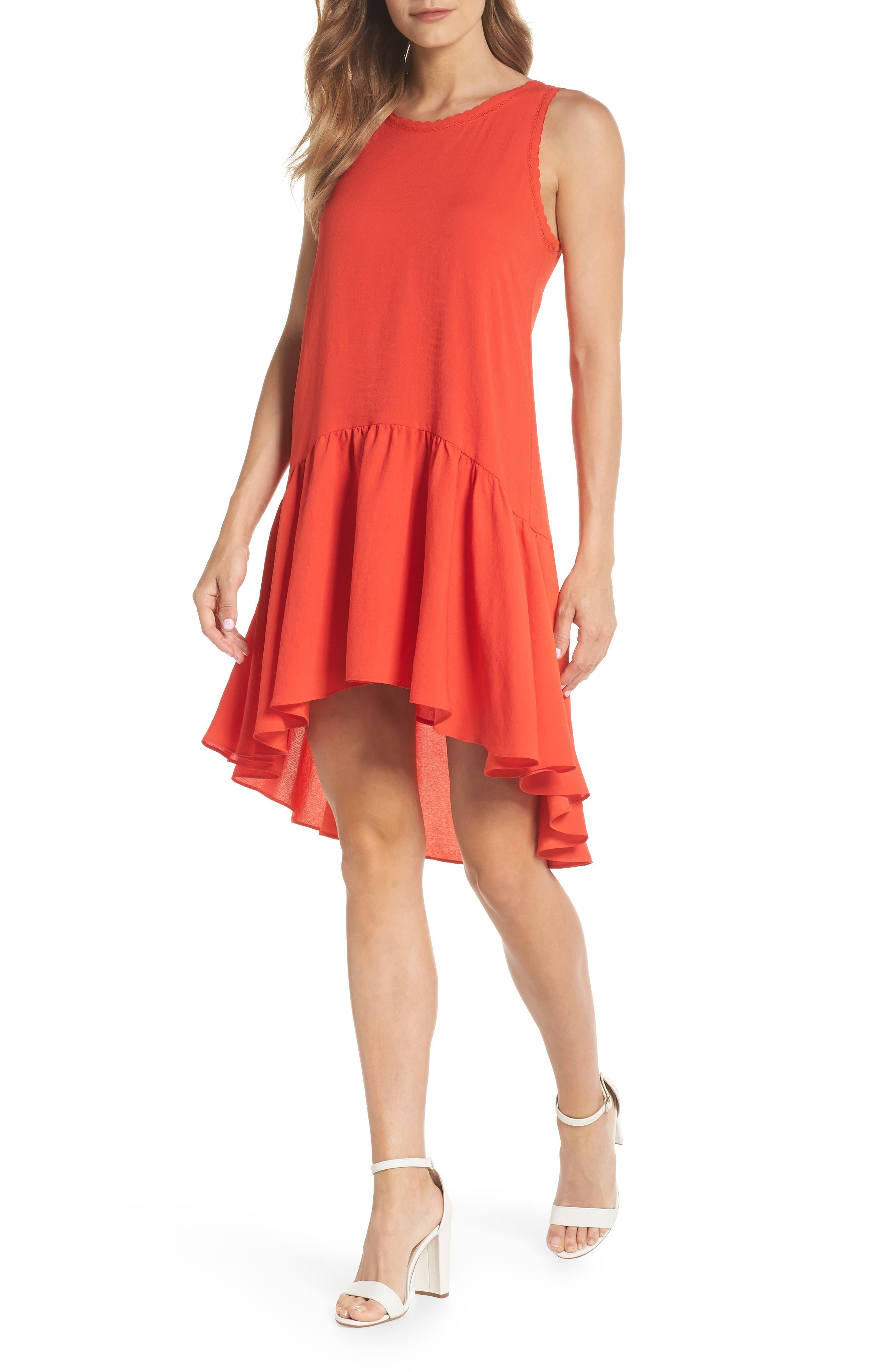 Ruffle Hem Swing Dress,                             Main thumbnail 1, color,                             Red Fiery