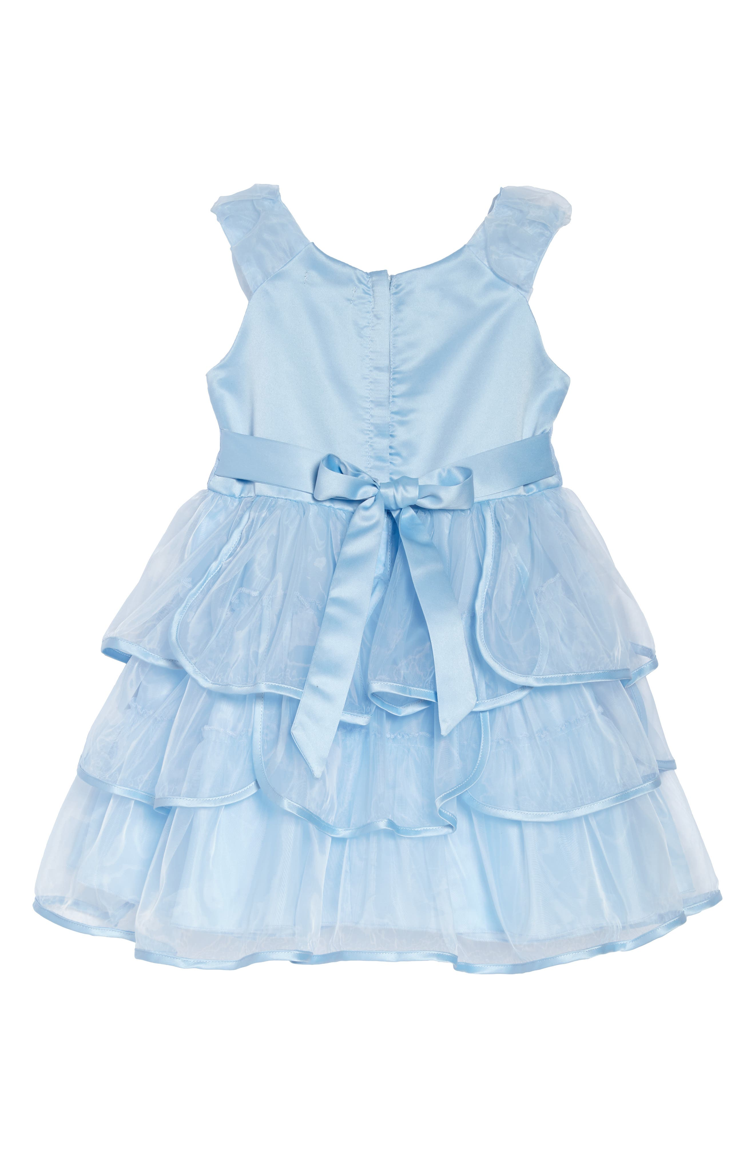 Tiered Organza Party Dress,                             Alternate thumbnail 2, color,                             Light Blue