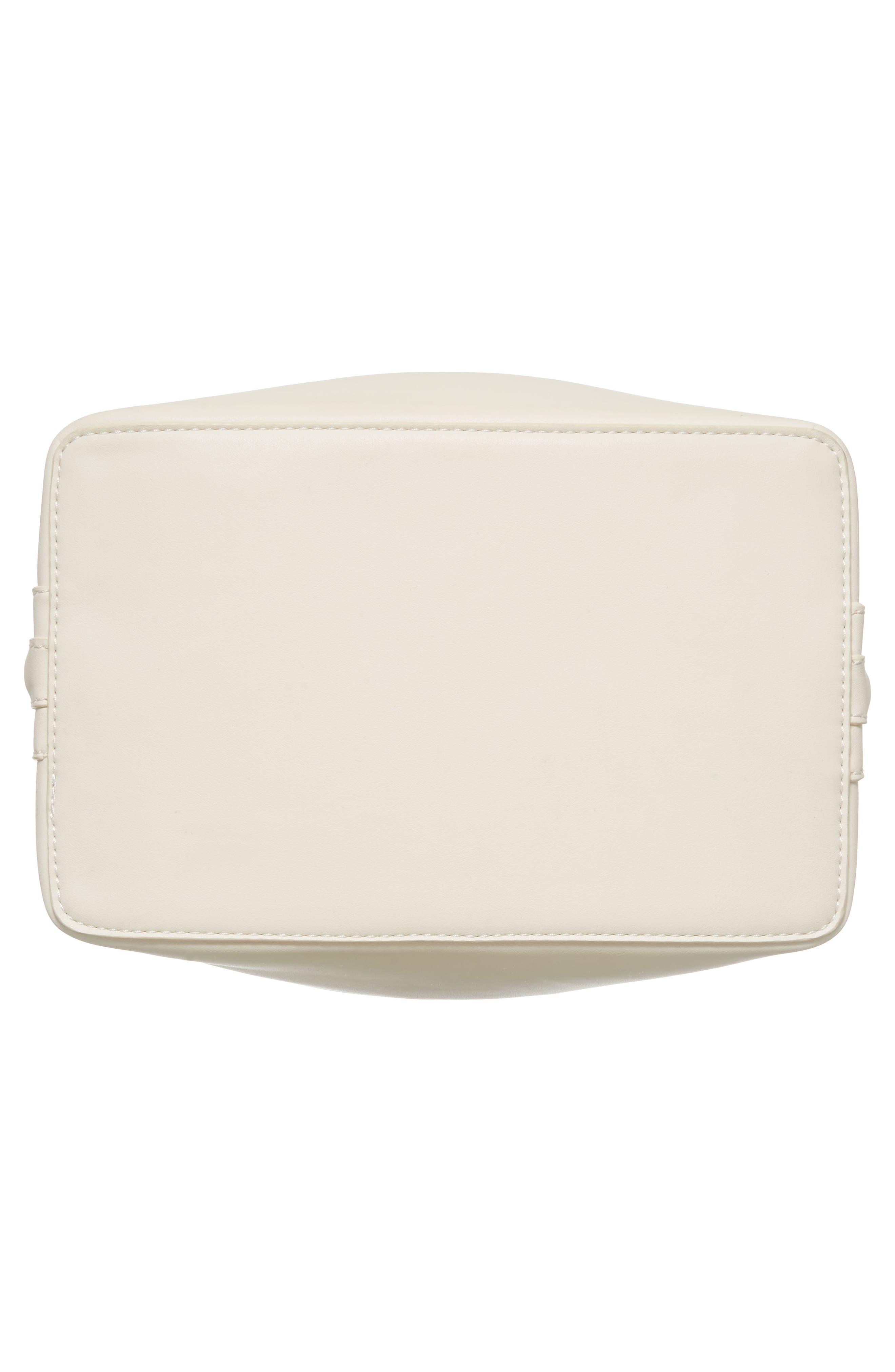 Faux Leather Bucket Tote,                             Alternate thumbnail 6, color,                             White/ Blush