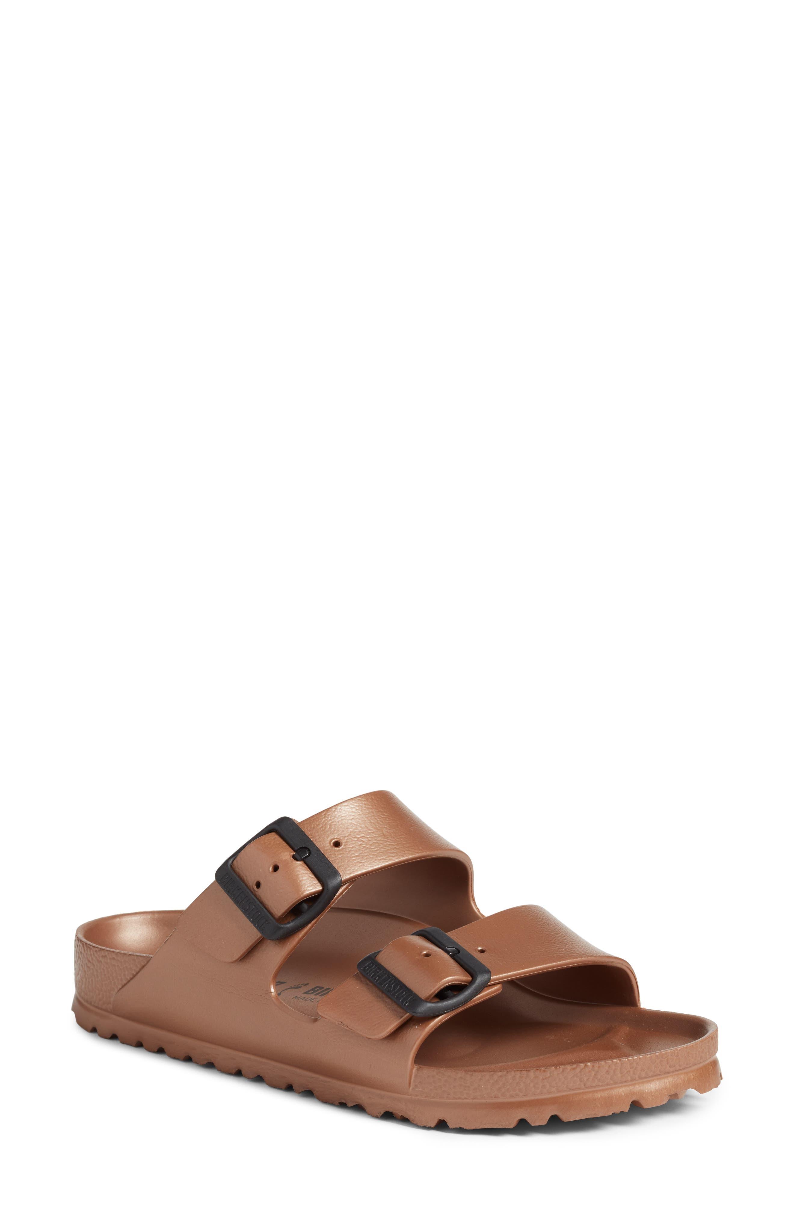 Essentials - Arizona Slide Sandal,                             Main thumbnail 1, color,                             Metallic Copper