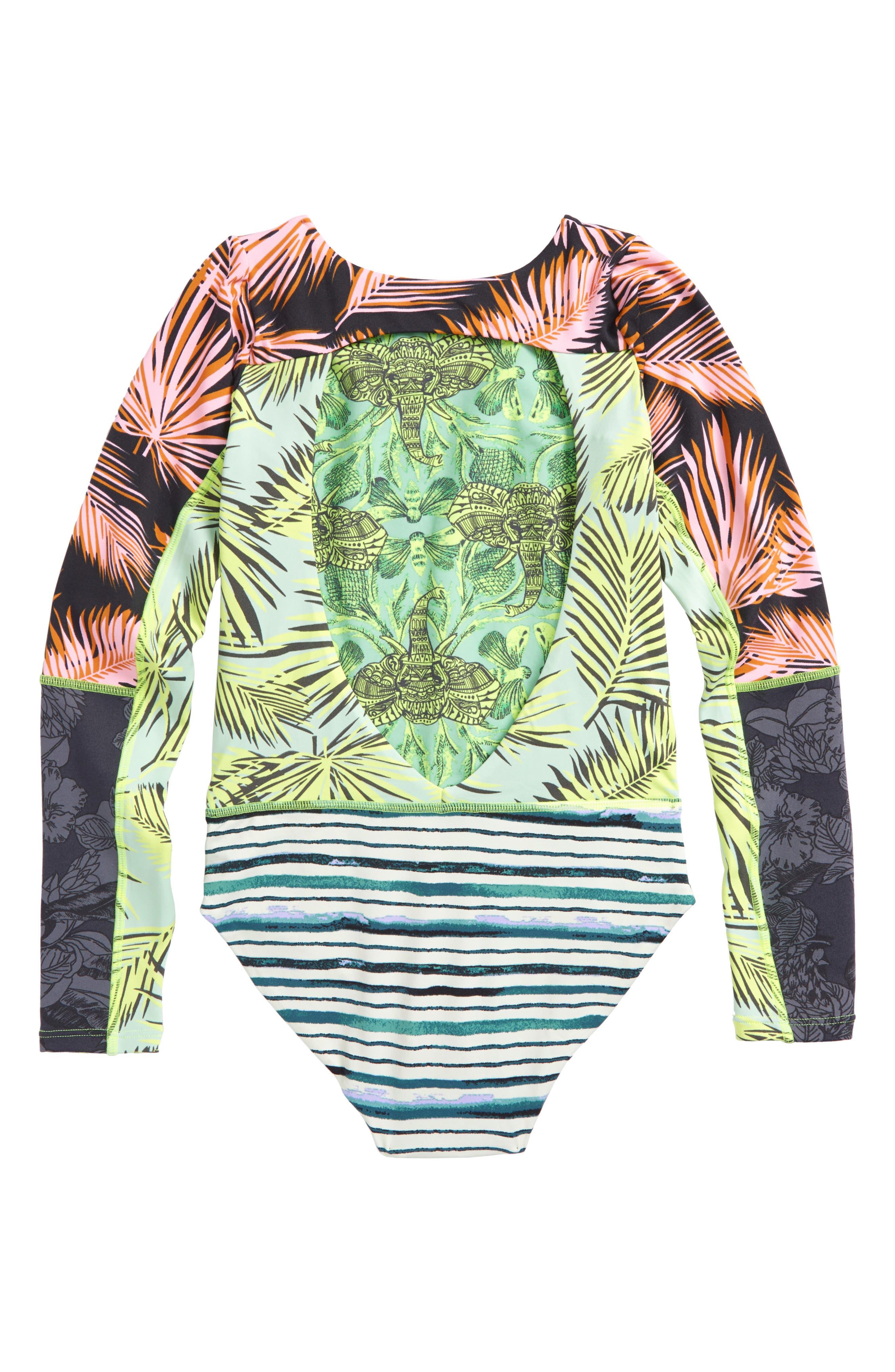 Greenwoods Long Sleeve Rashguard Swimsuit,                             Alternate thumbnail 2, color,                             Green