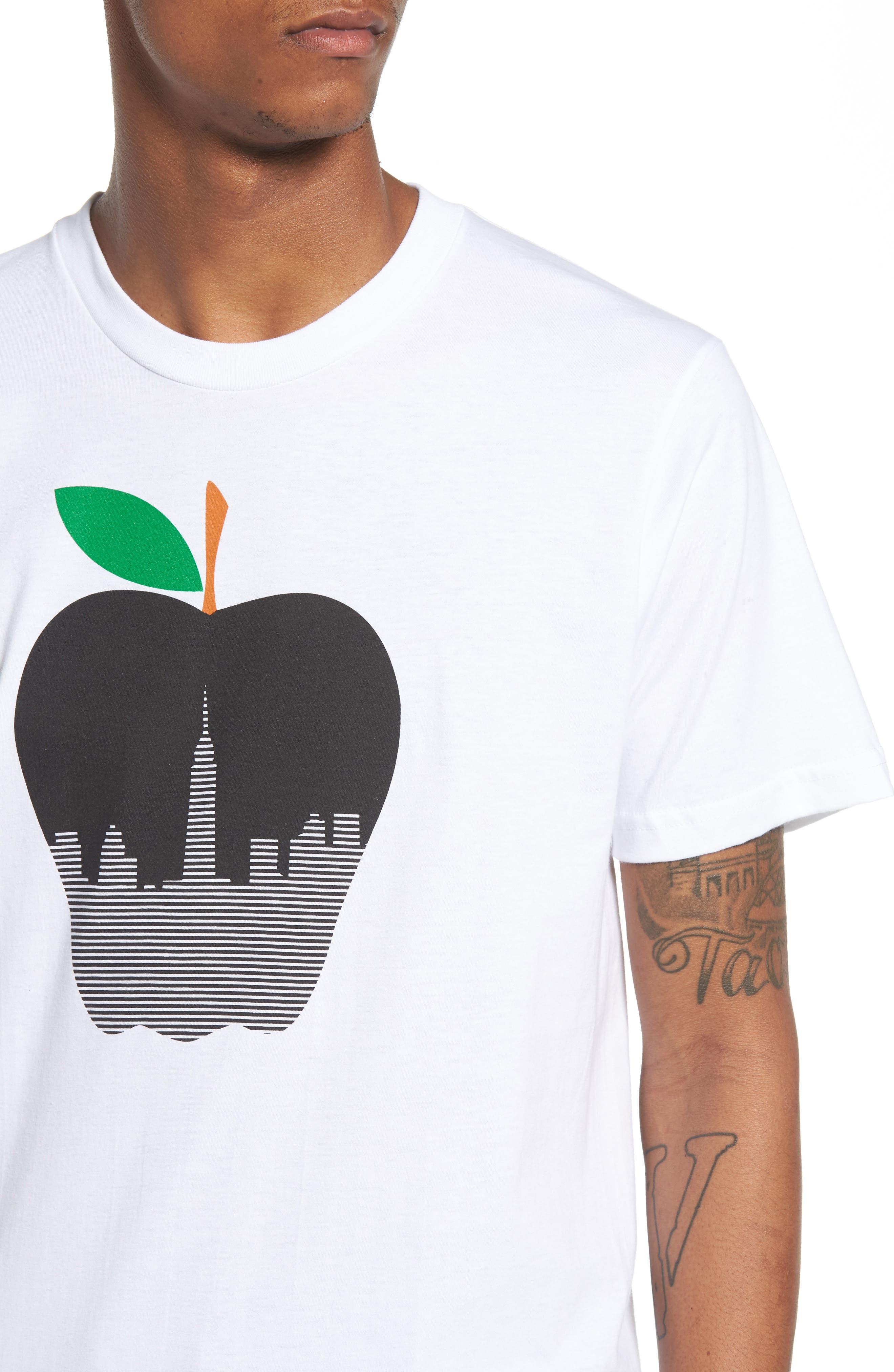 NY Apple Graphic T-Shirt,                             Alternate thumbnail 4, color,                             White